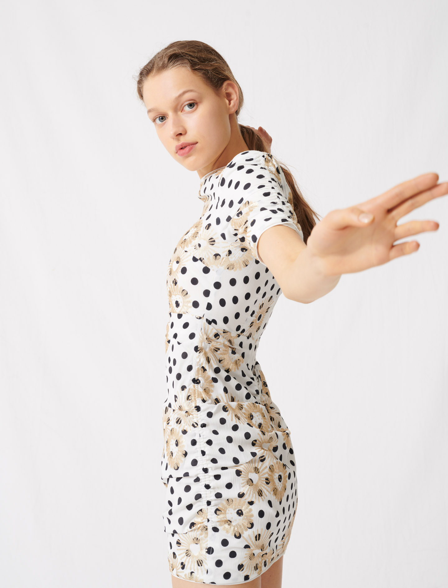 Polka dot and embroidered sequin dress - Multi-colour