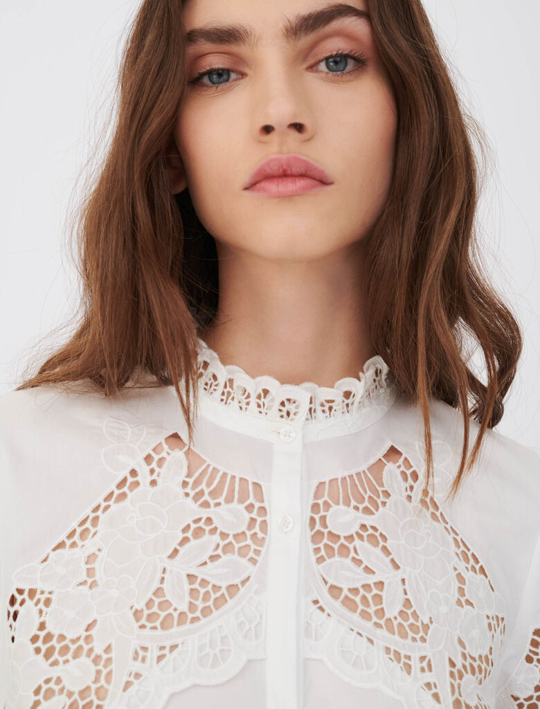 Cotton white shirt with lace