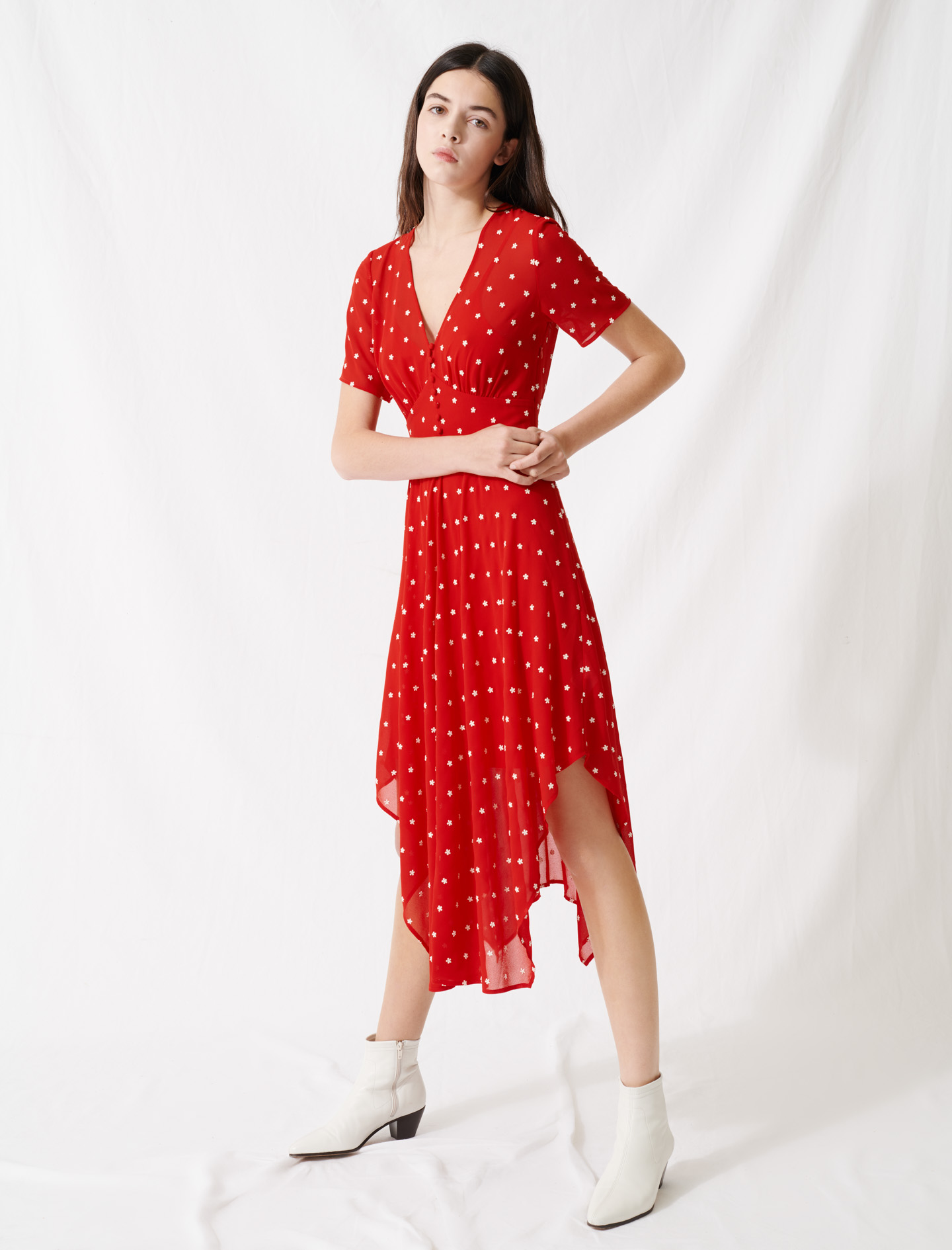 Long embroidered muslin dress - Red