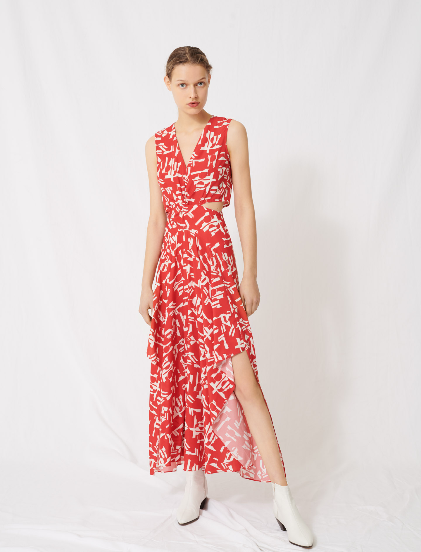 Red dress with cutouts - Red