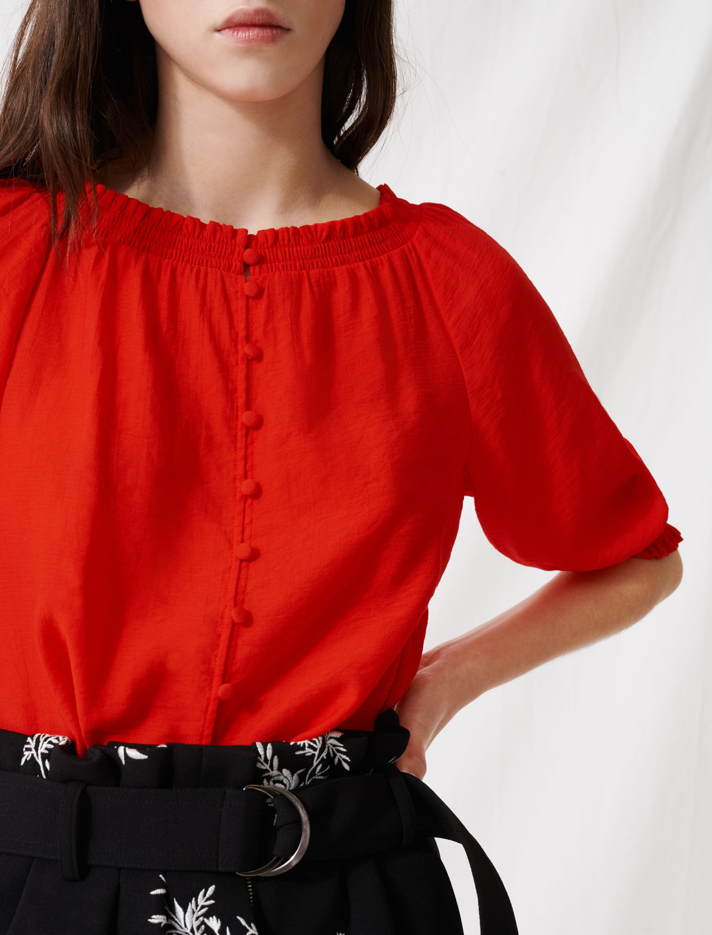 Smocked boat-neck top - Red