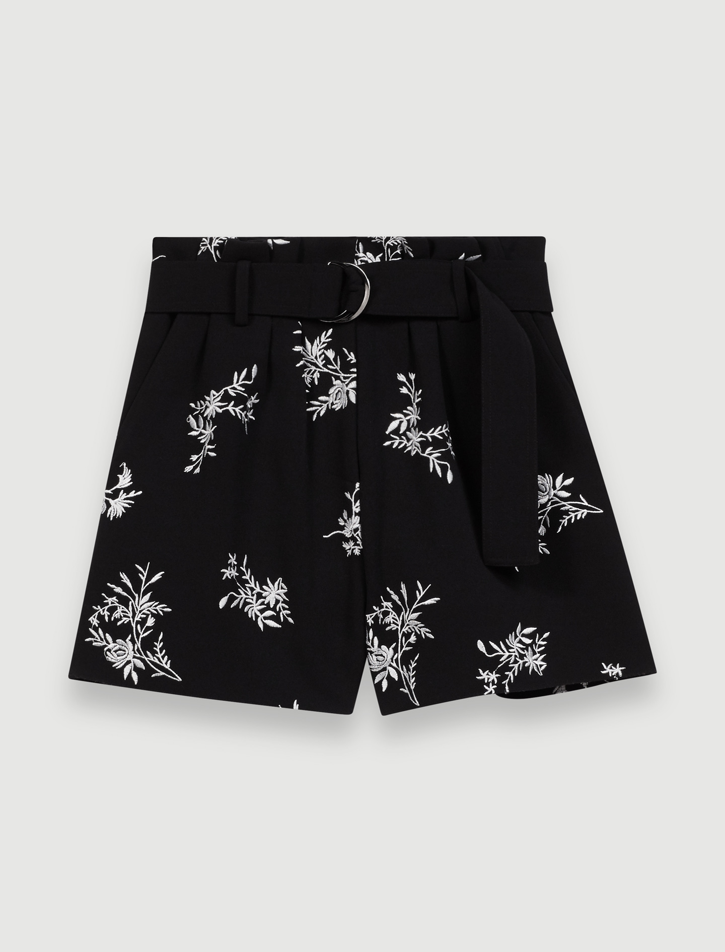 Embroidered belted crepe shorts - Multi-colour