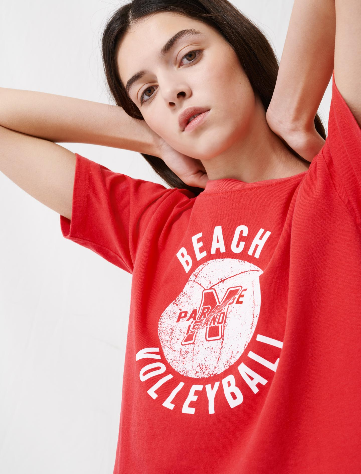 Short red screen-printed T-shirt - Red