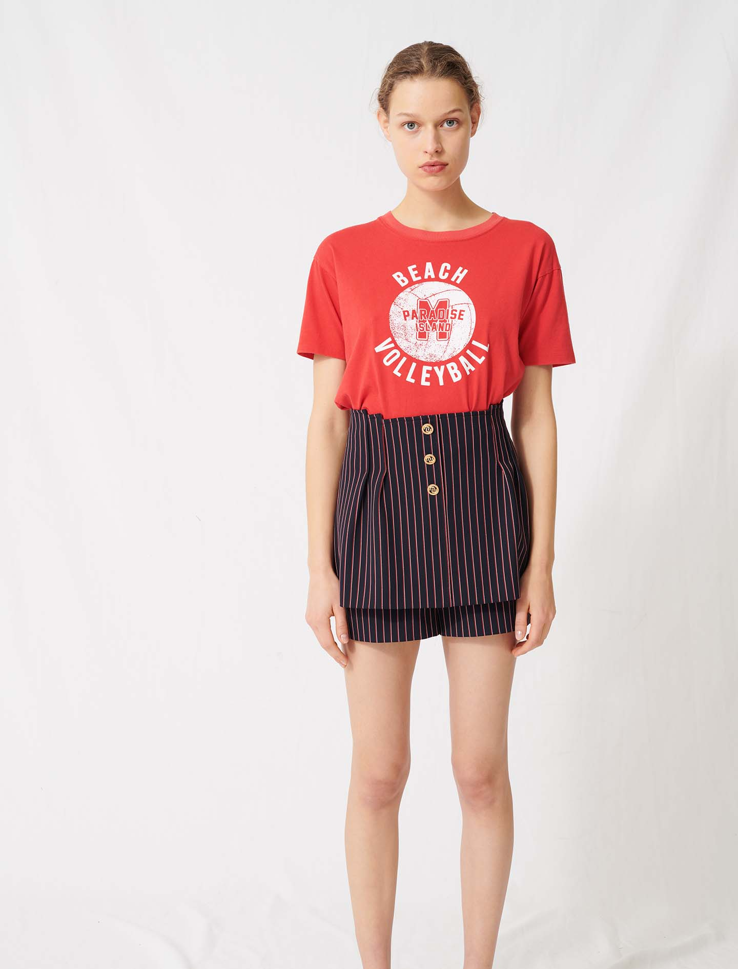 Trompe-l'oeil-effect striped shorts - Navy