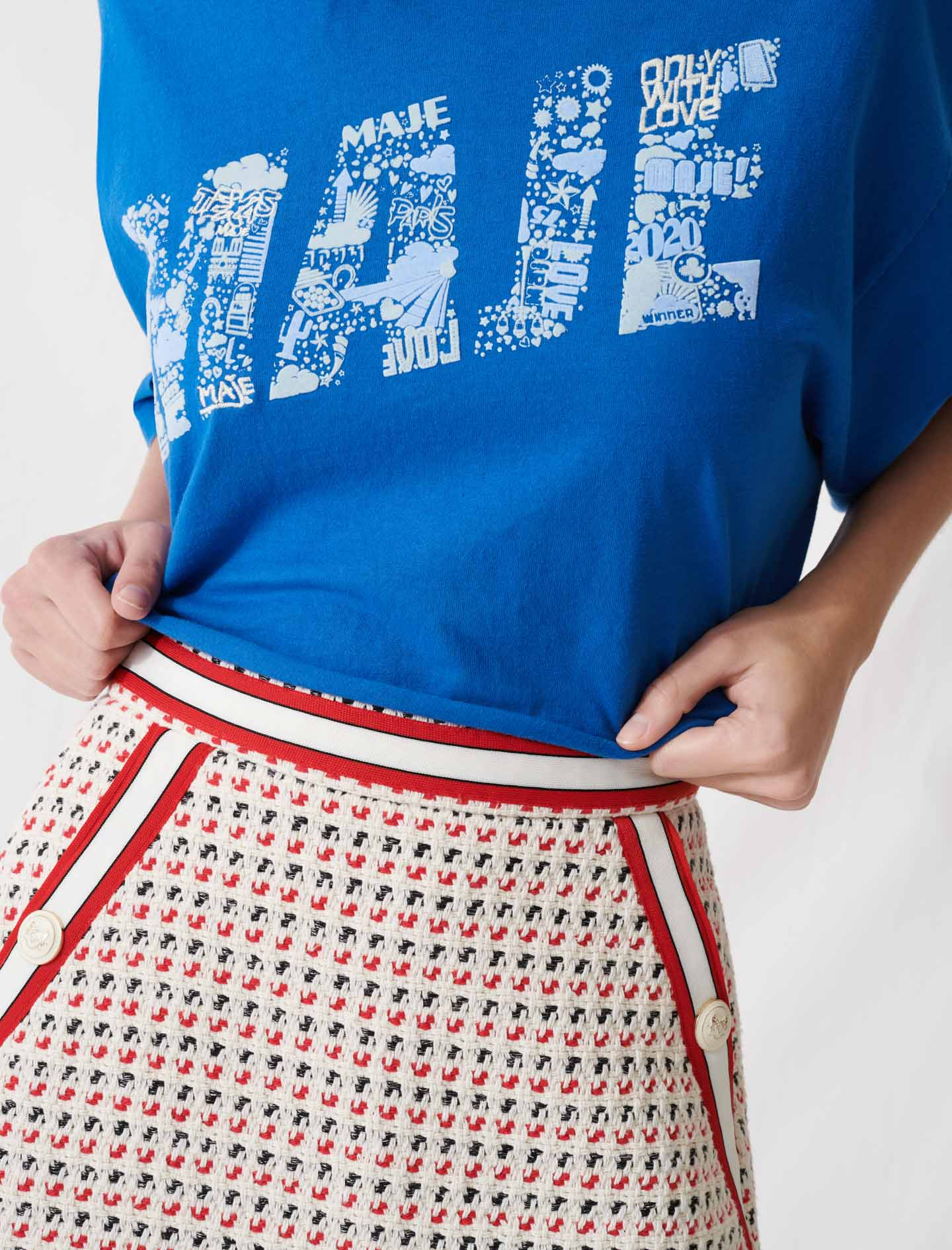 Screen-printed cropped T-shirt - Blue