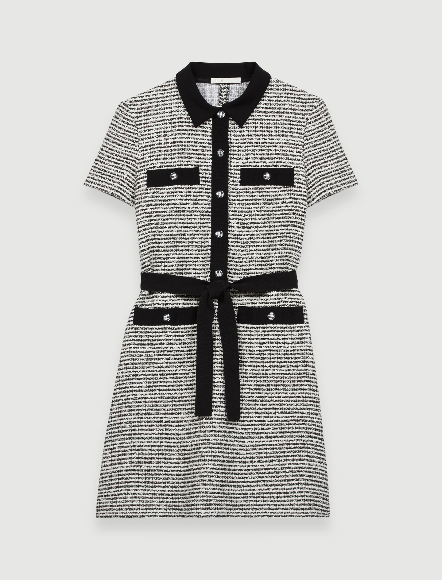 Belted tweed-style dress - Multi-colour