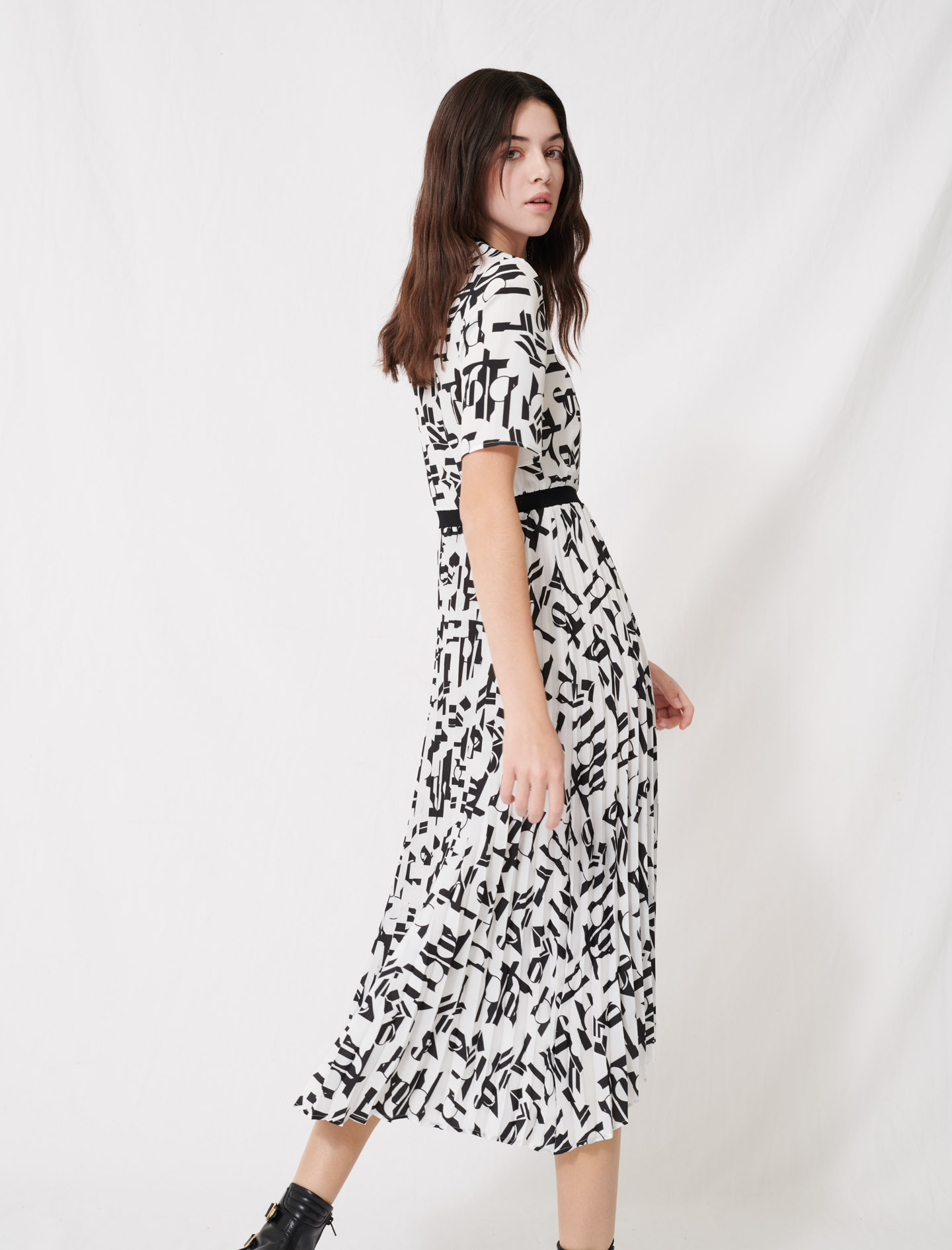 Motif dress with inlaid waistband - Multi-colour