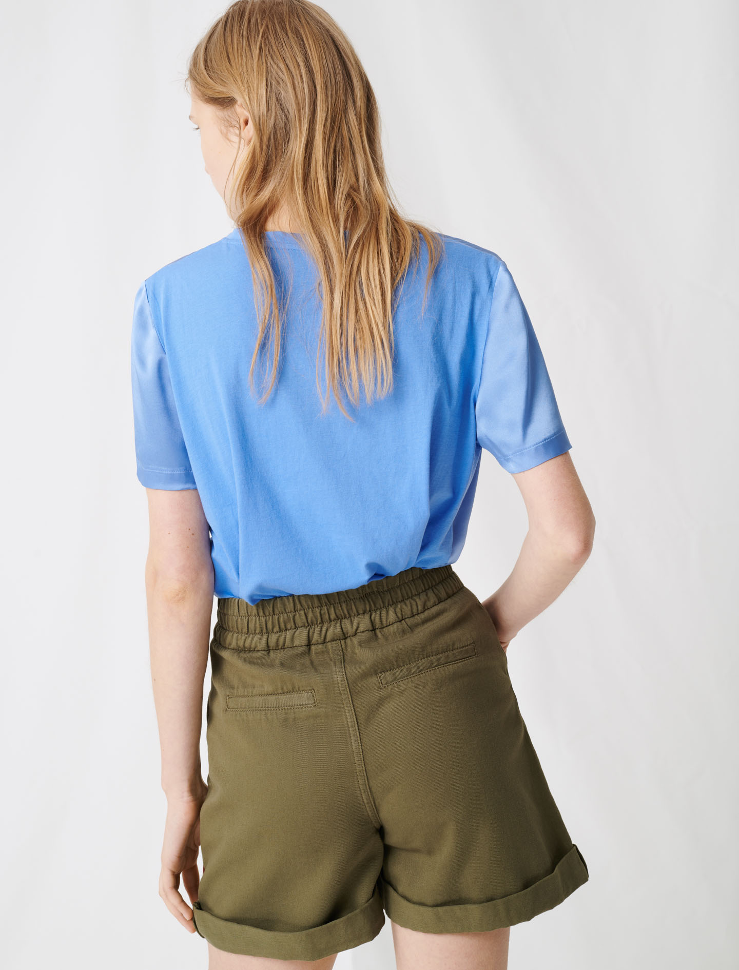 Loose-fitting material-mix T-shirt - Blue