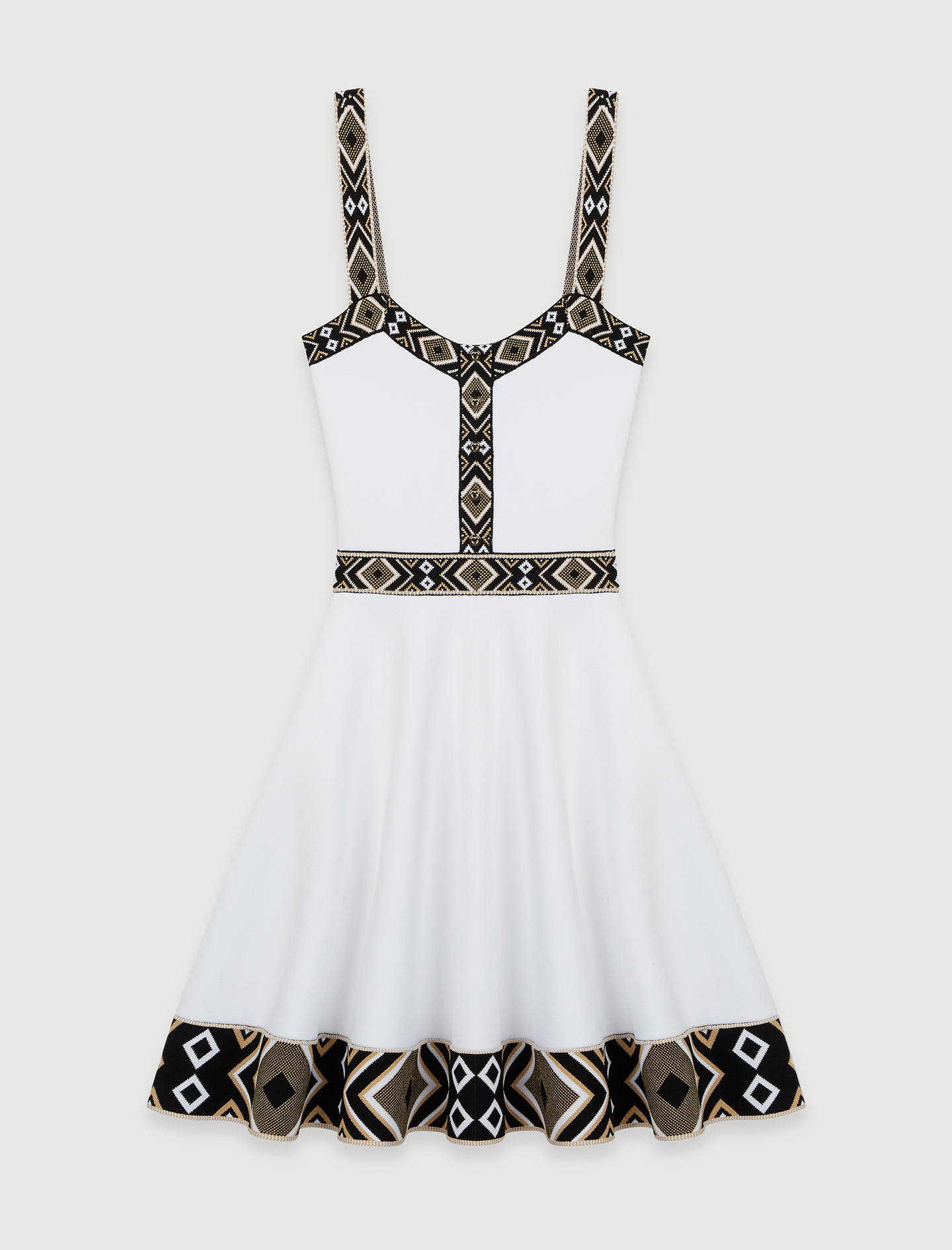 White knit skater dress - White