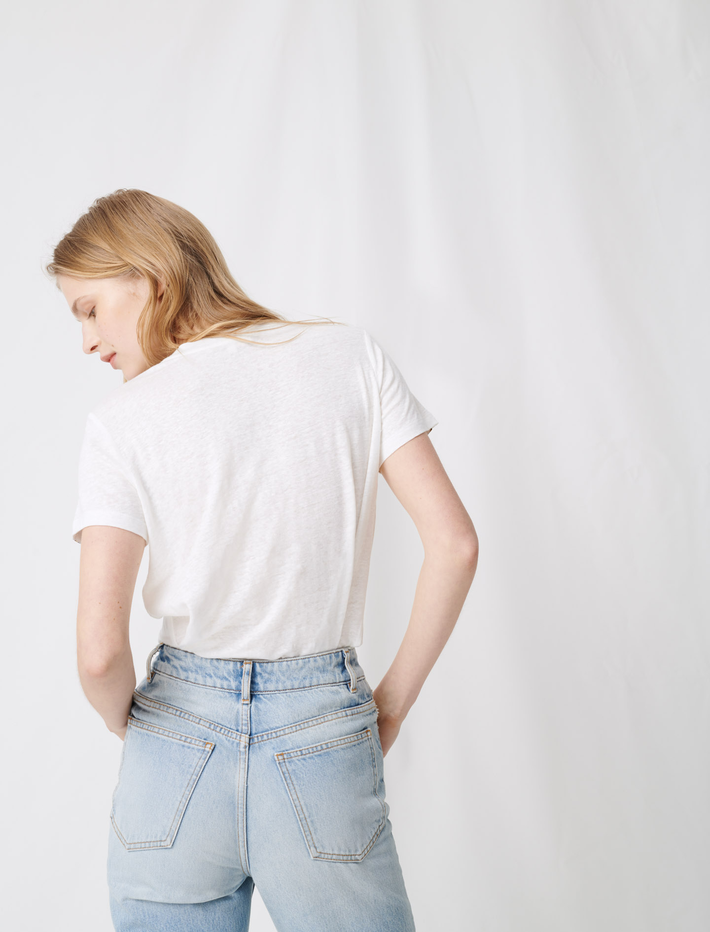 White T-shirt with tied back - Ecru