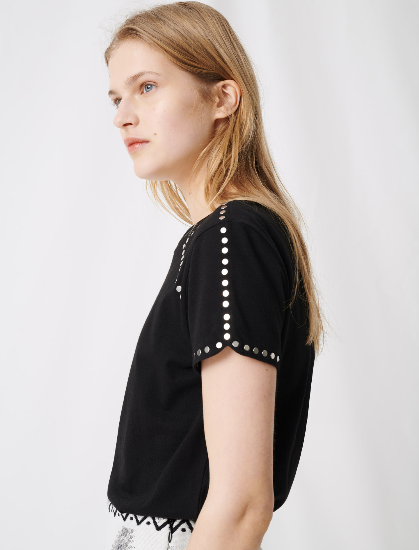 Rock 'n' roll T-shirt with studs - Black