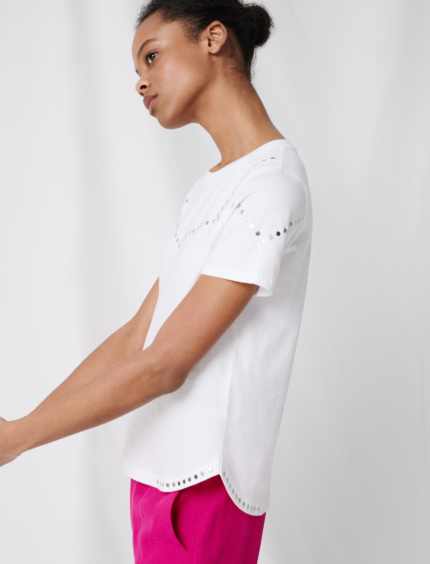 Studded white T shirt - White