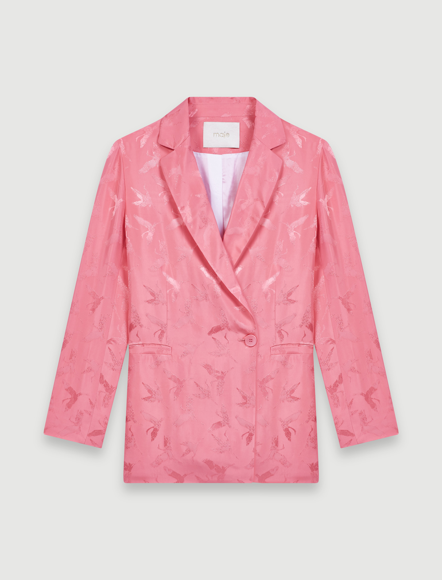 Satiny jacquard double-breasted jacket - Pink