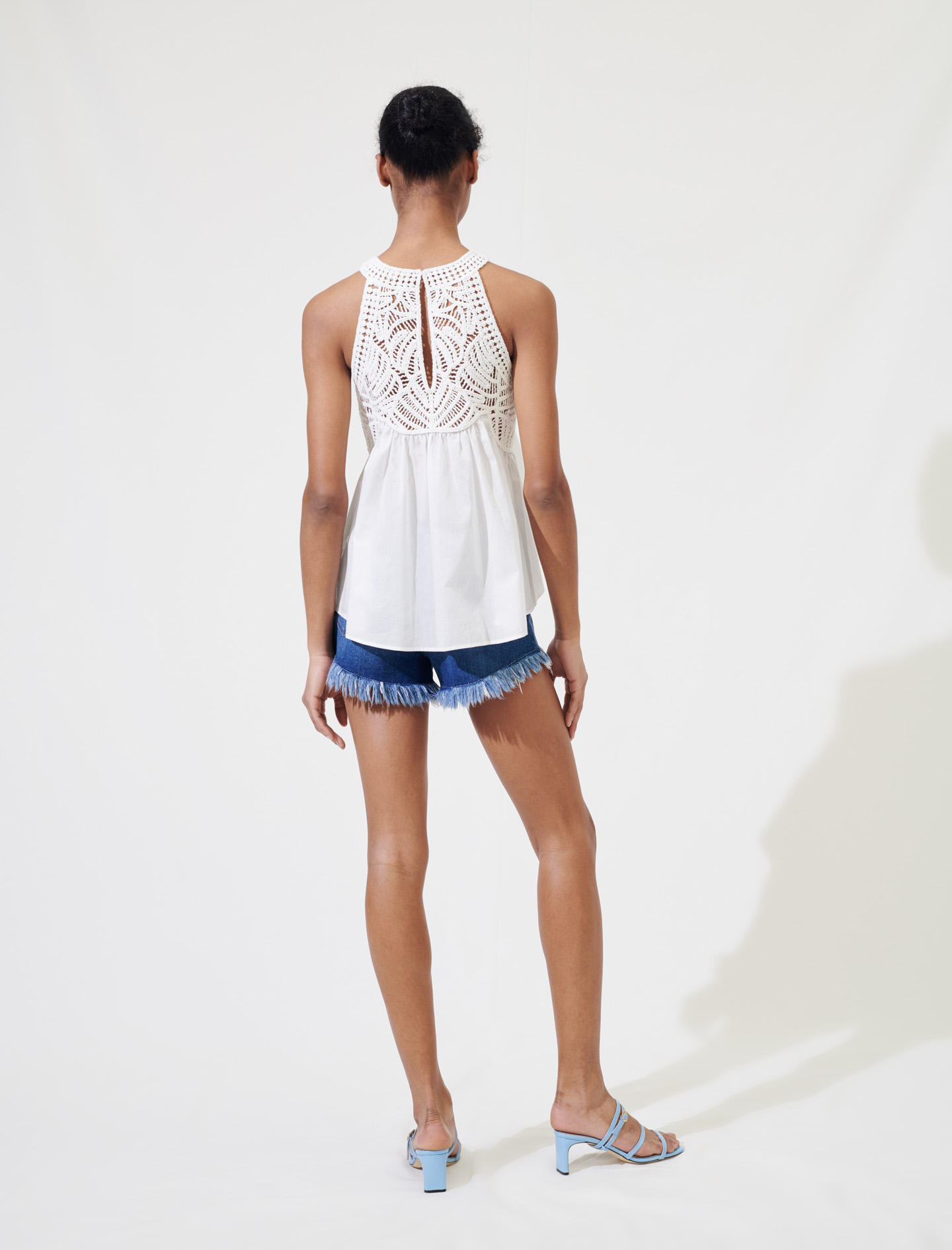 White singlet top with crochet detail by maje paris
