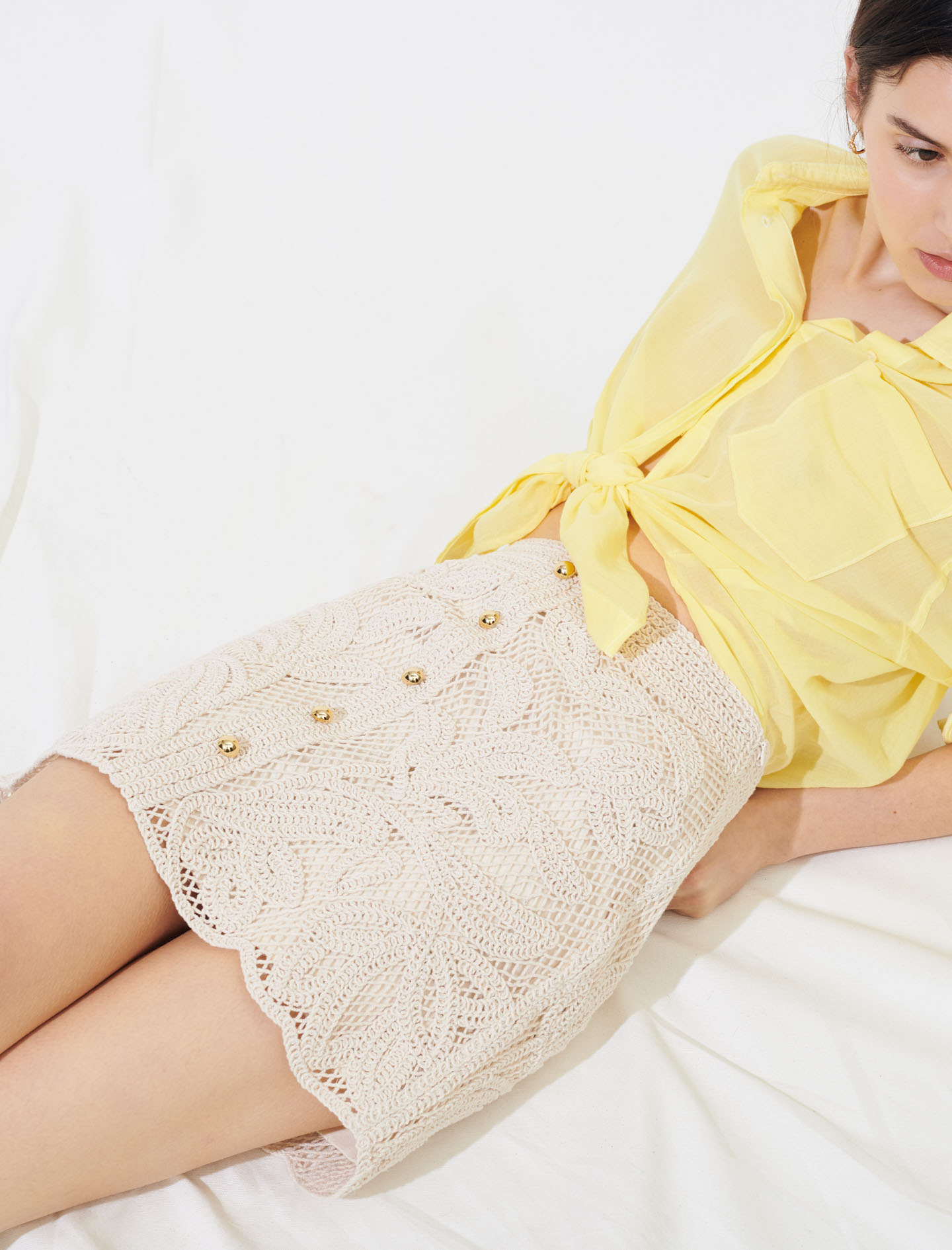 Crochet skirt with buttons in white by Maje Paris