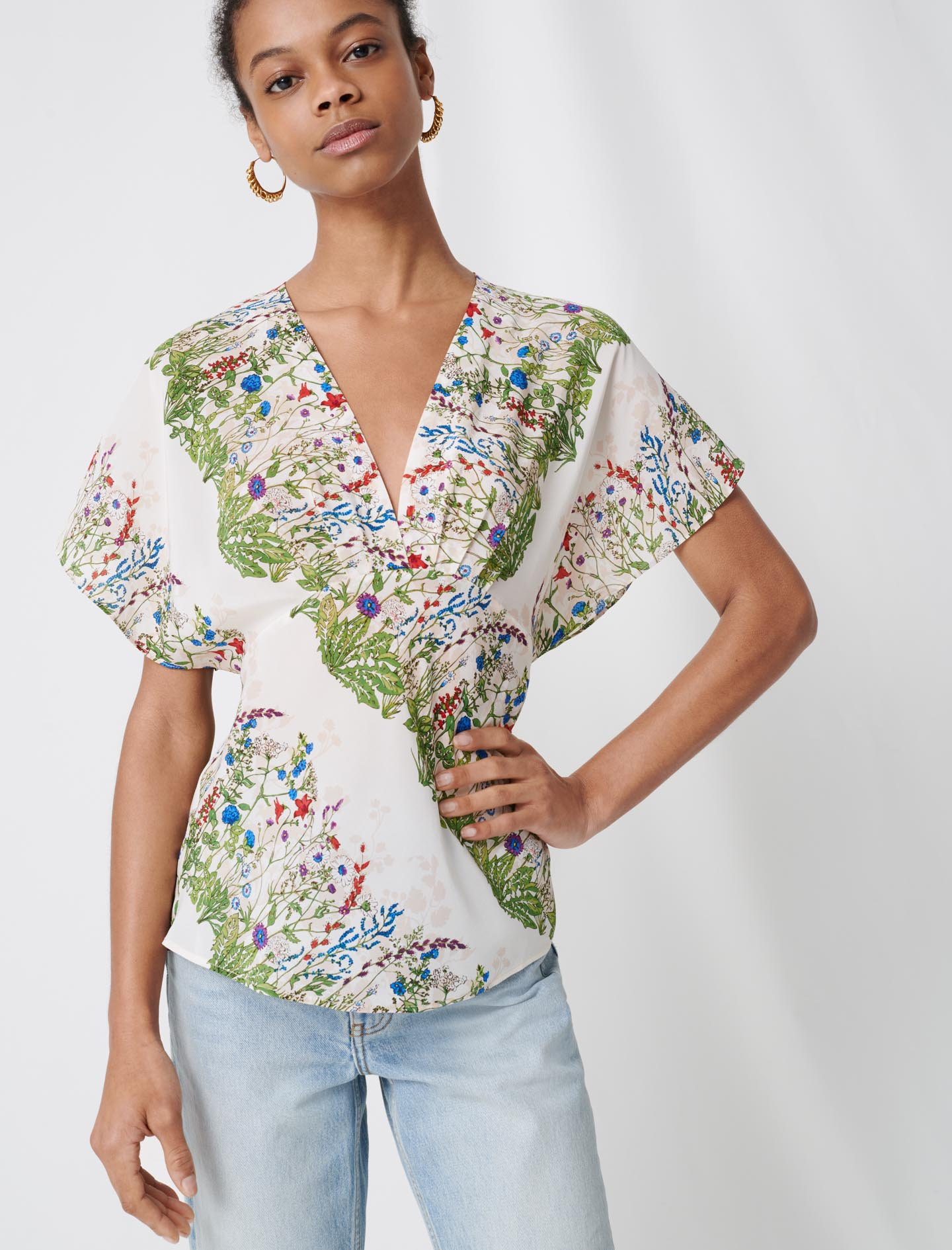 Delicate floral silk top - Multiclr
