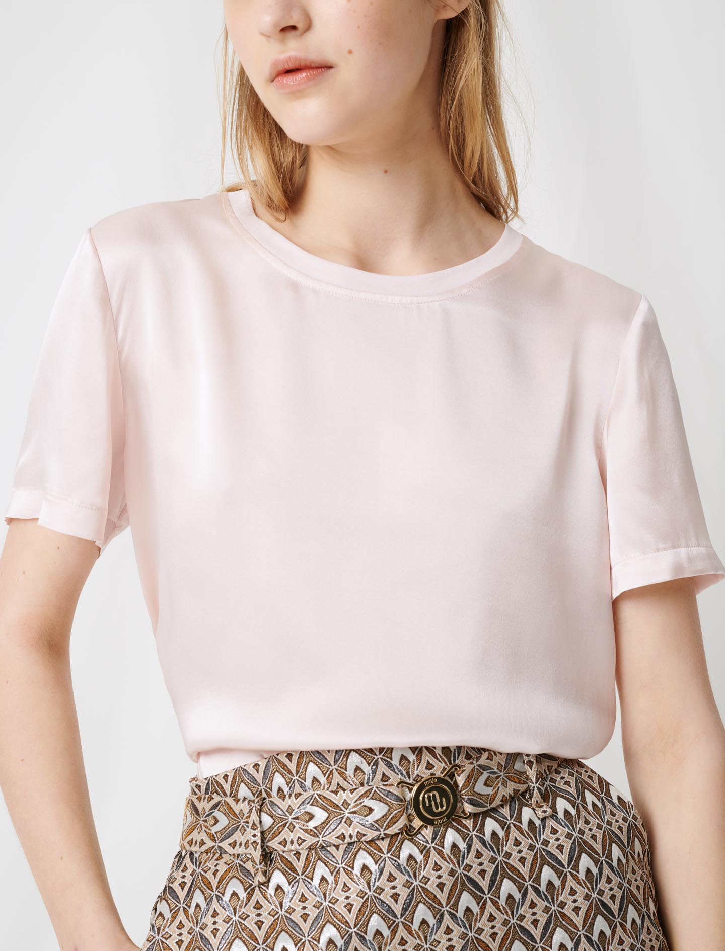 Loose-fitting material-mix T-shirt - Pink