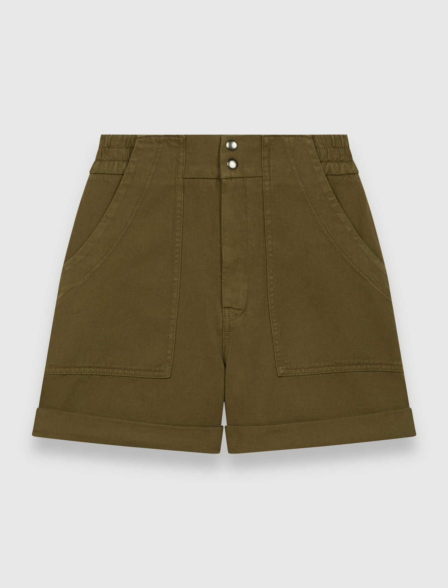 Khaki cotton canvas shorts - Green