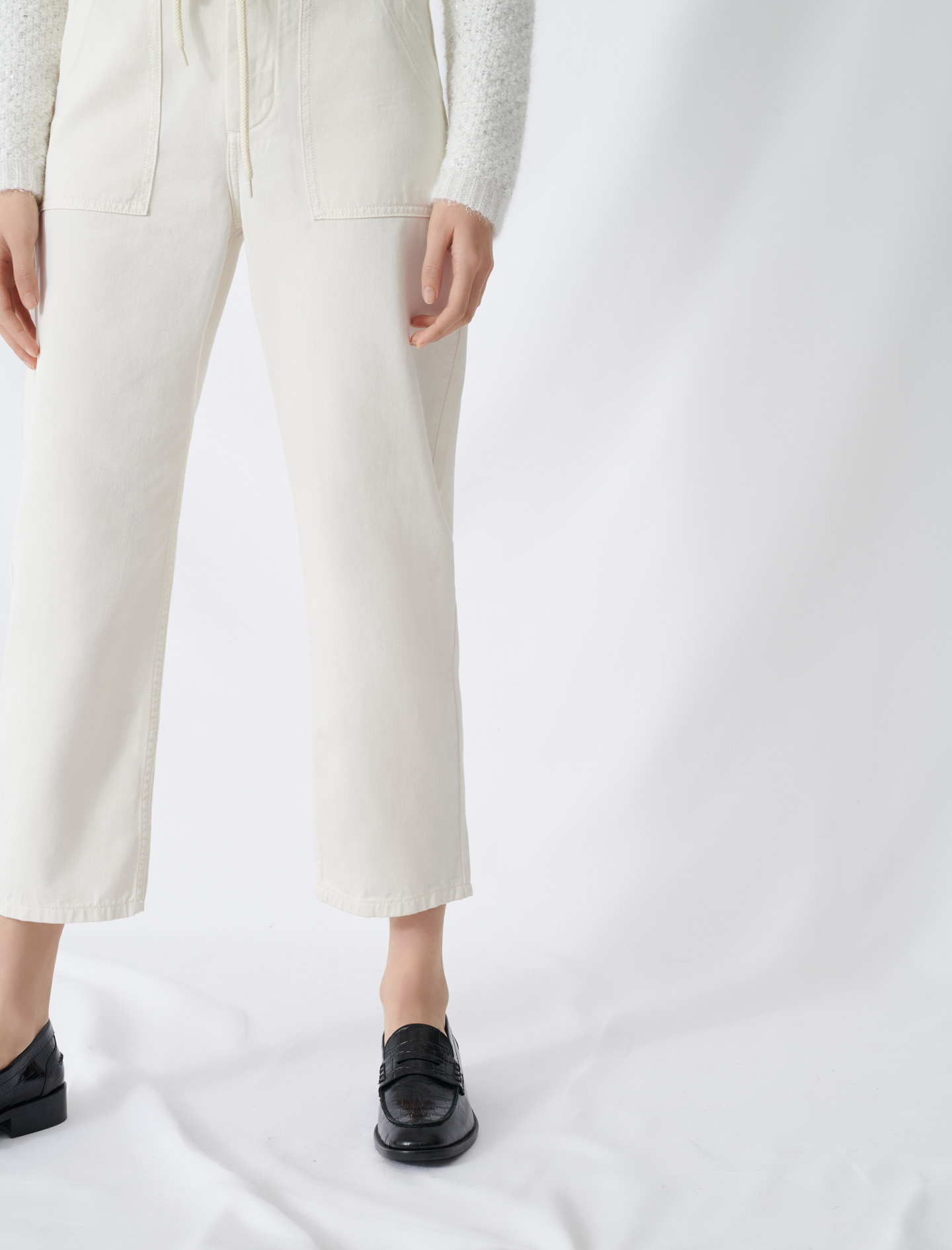 Wide jeans with large pockets - Ecru