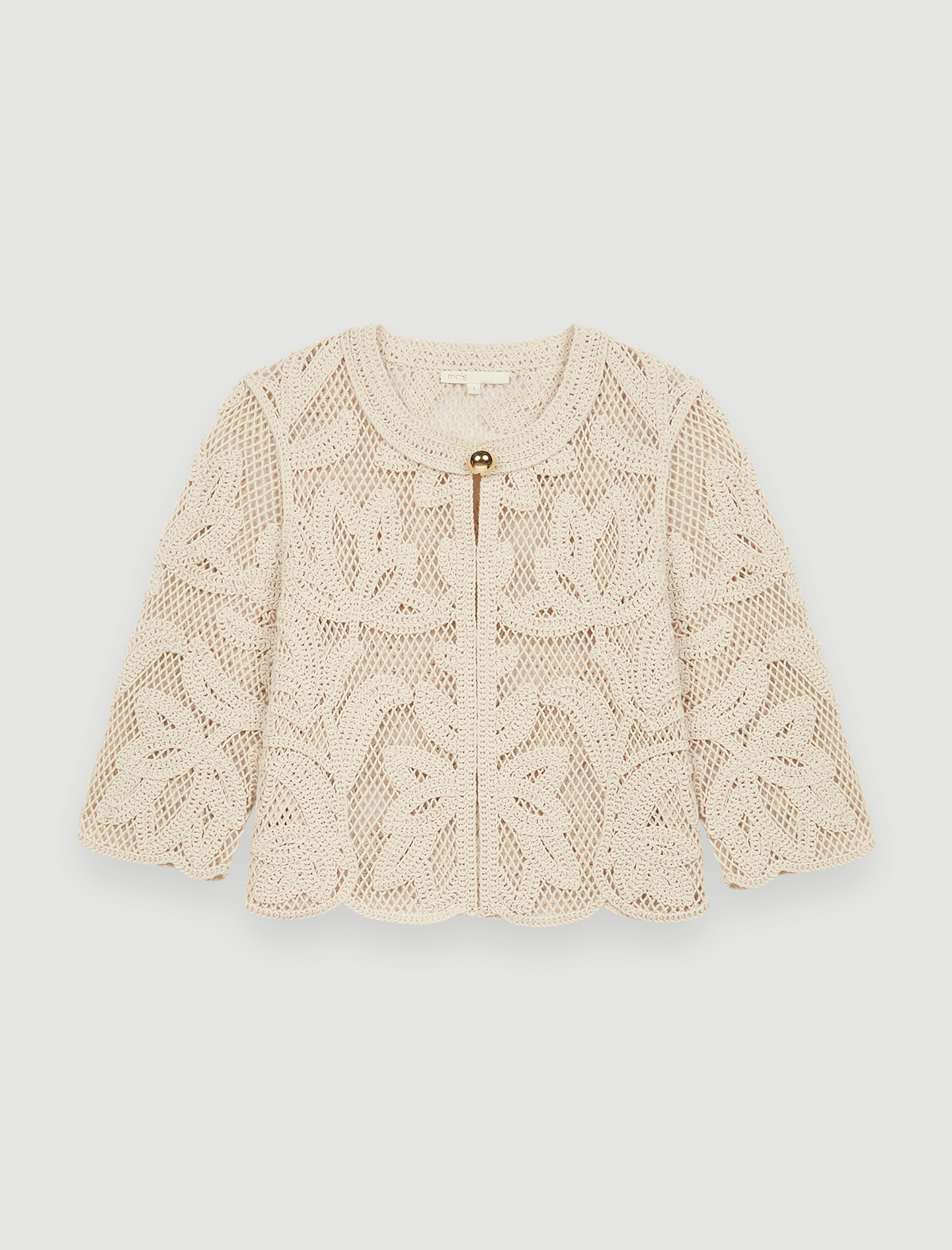 Beige crochet top with short sleeves by Maje Paris