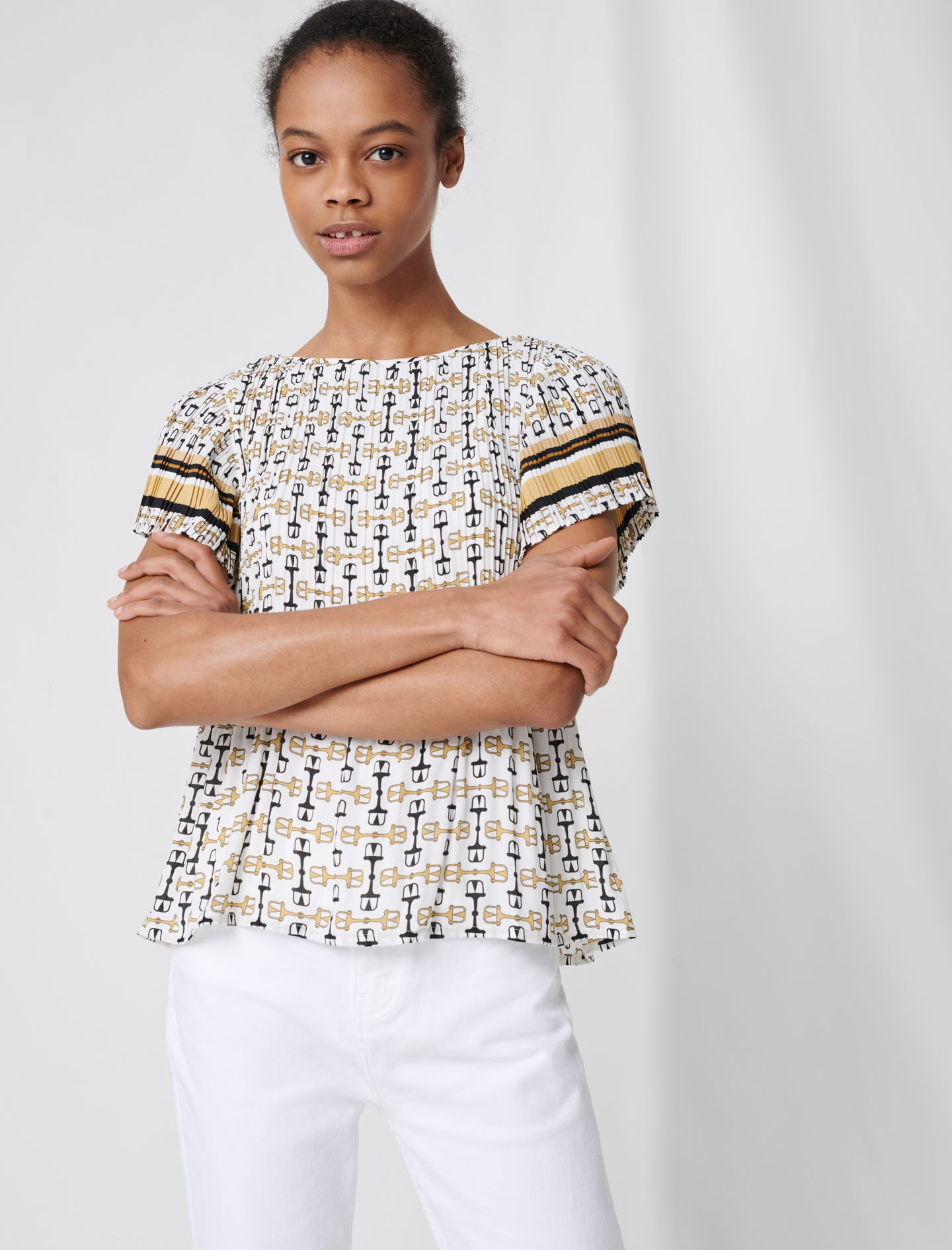 Pleated tunic with preppy print - Multiclr
