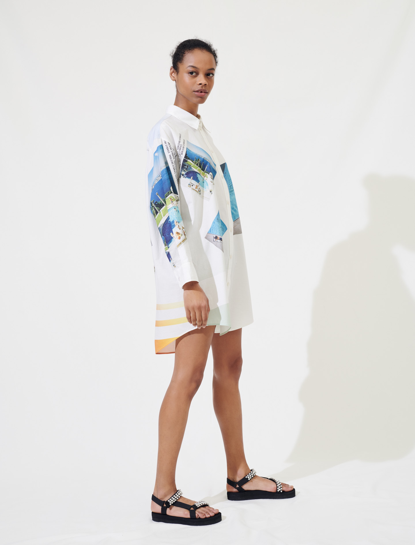 Printed oversize cotton dress - Multiclr