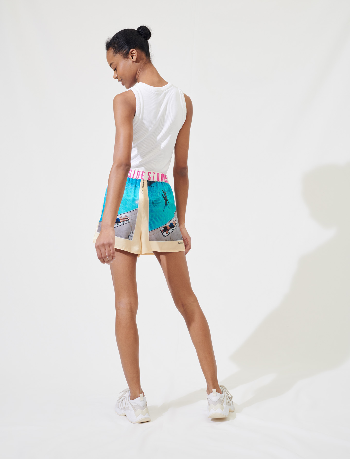 Printed satin sports shorts - Multiclr