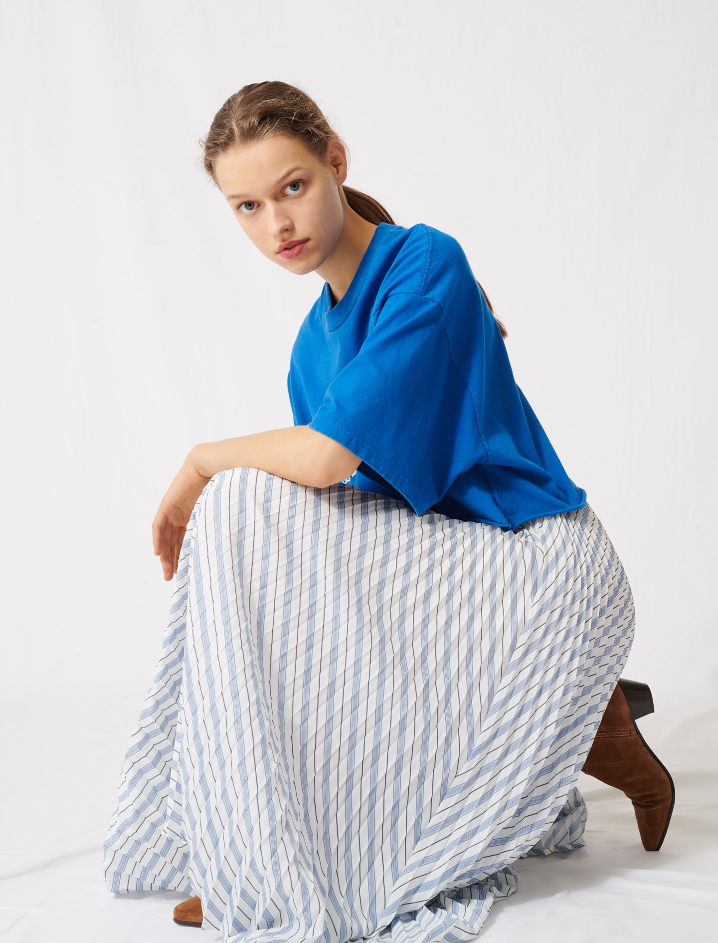 Maje Striped and pleated elasticated skirt