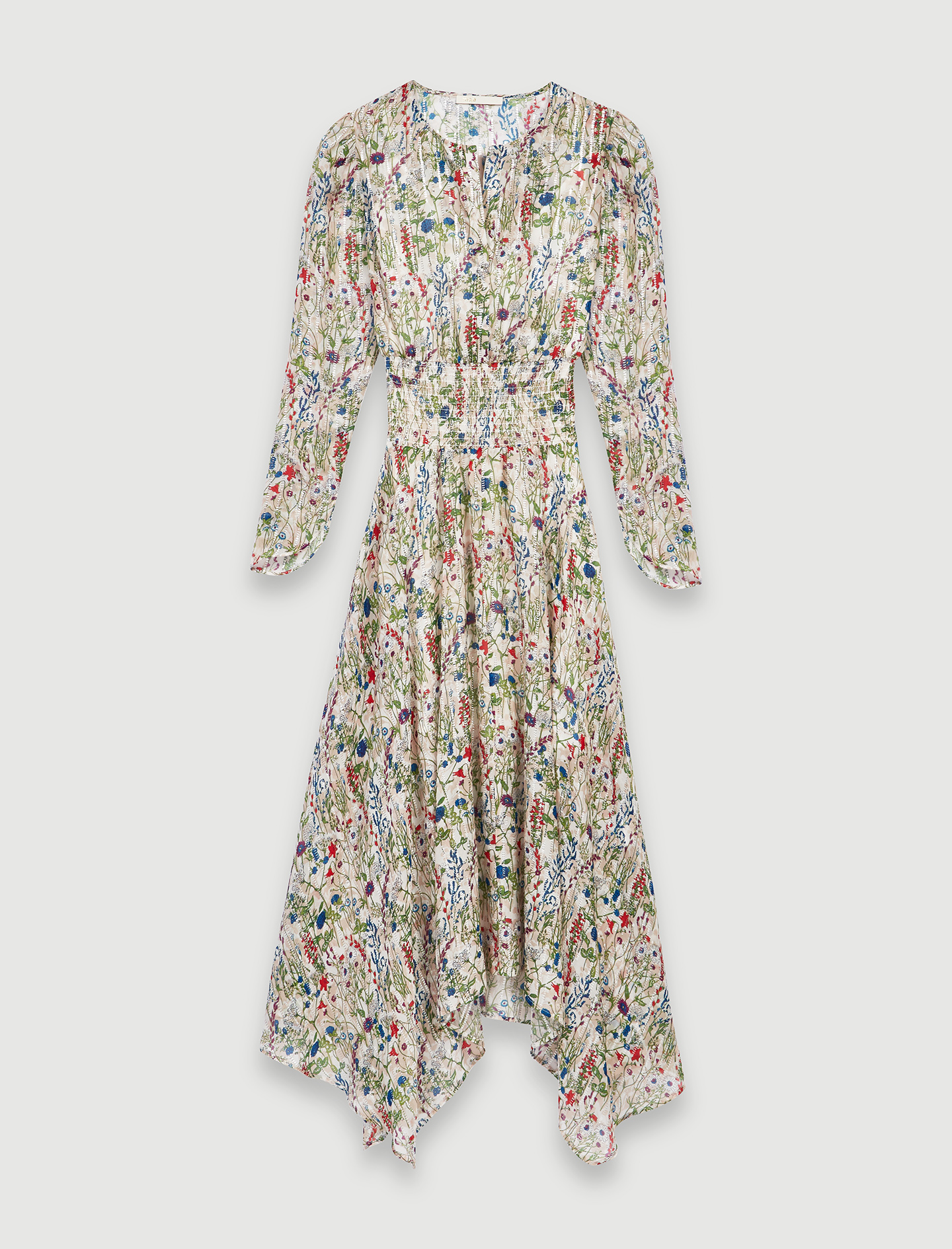 Long Asymmetrical Dress With Floral Print - Multiclr