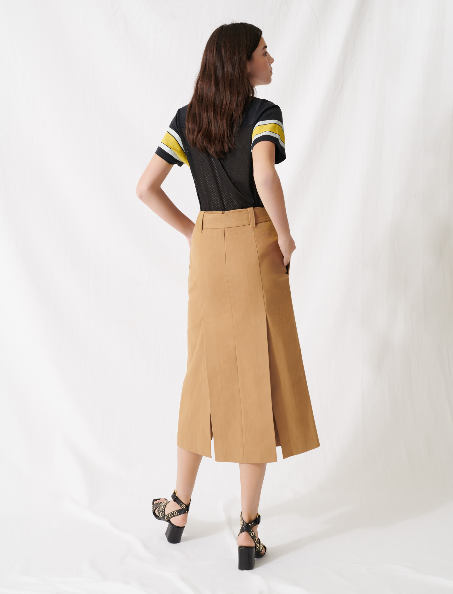 Camel skirt with inlaid belt - Camel