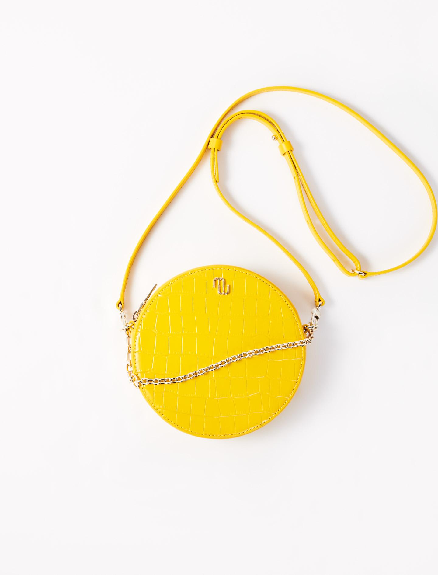 Round Embossed Leather Handbag - Yellow