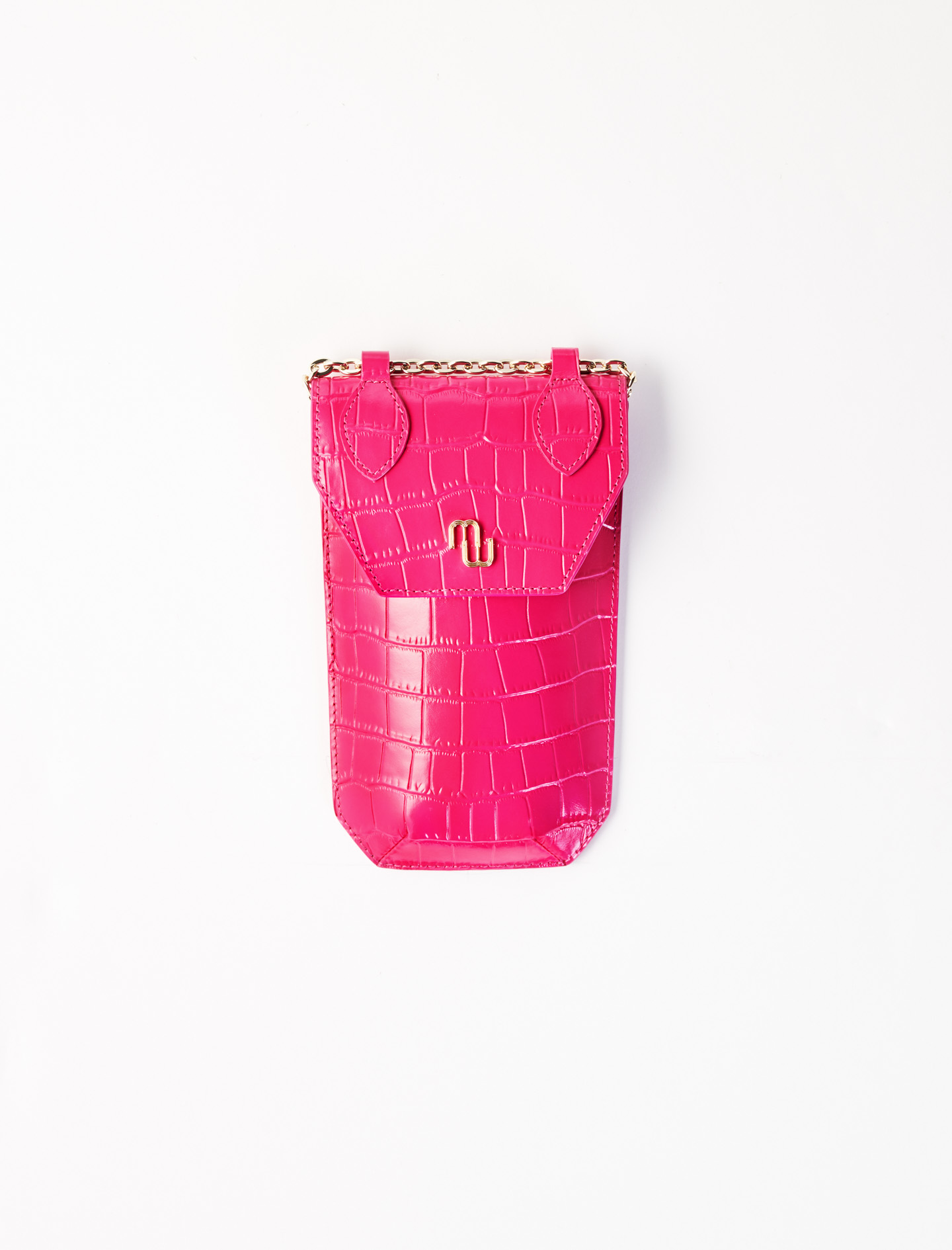 Crocodile-effect phone case  - Pink