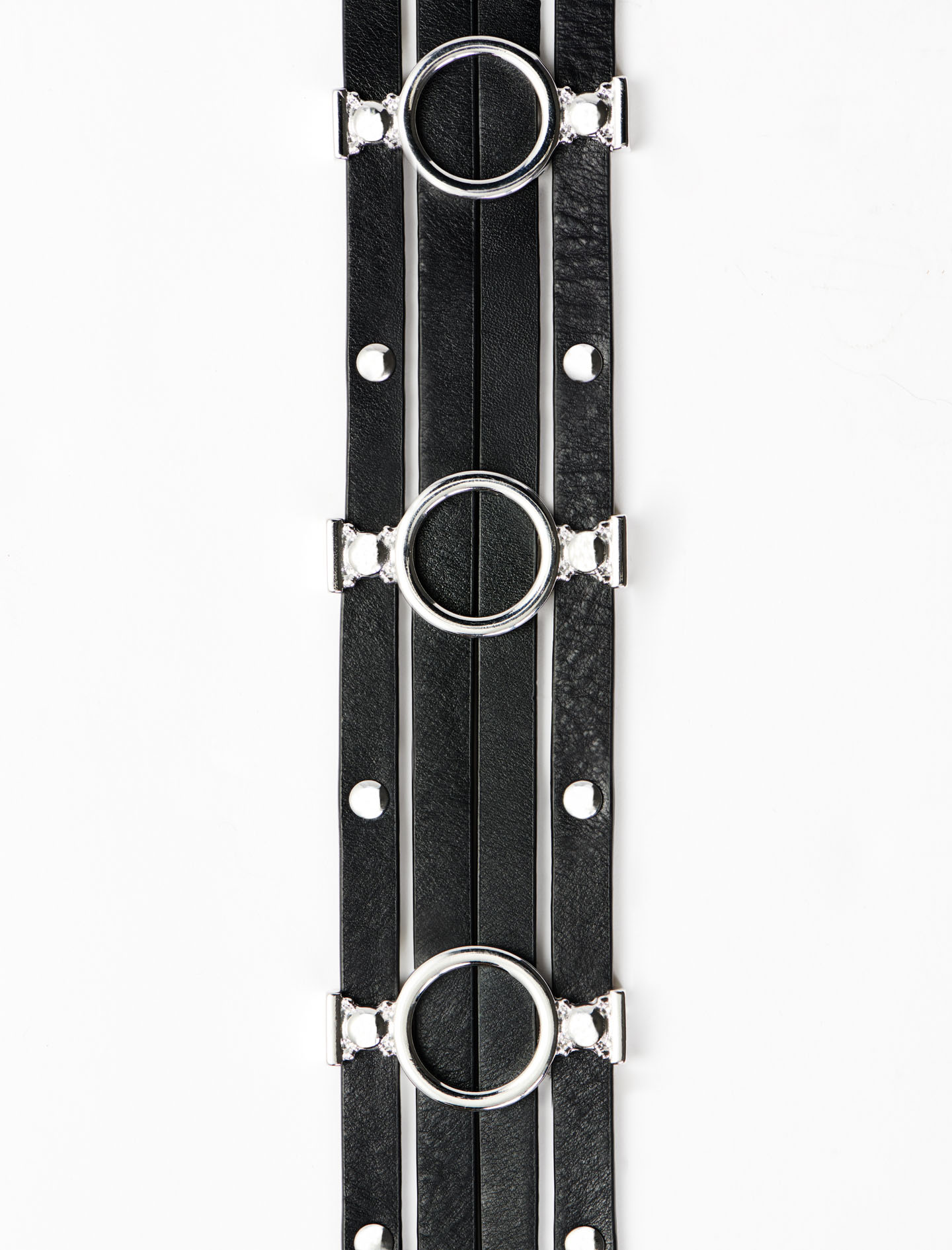 Leather Belt With Metallic Details - Black