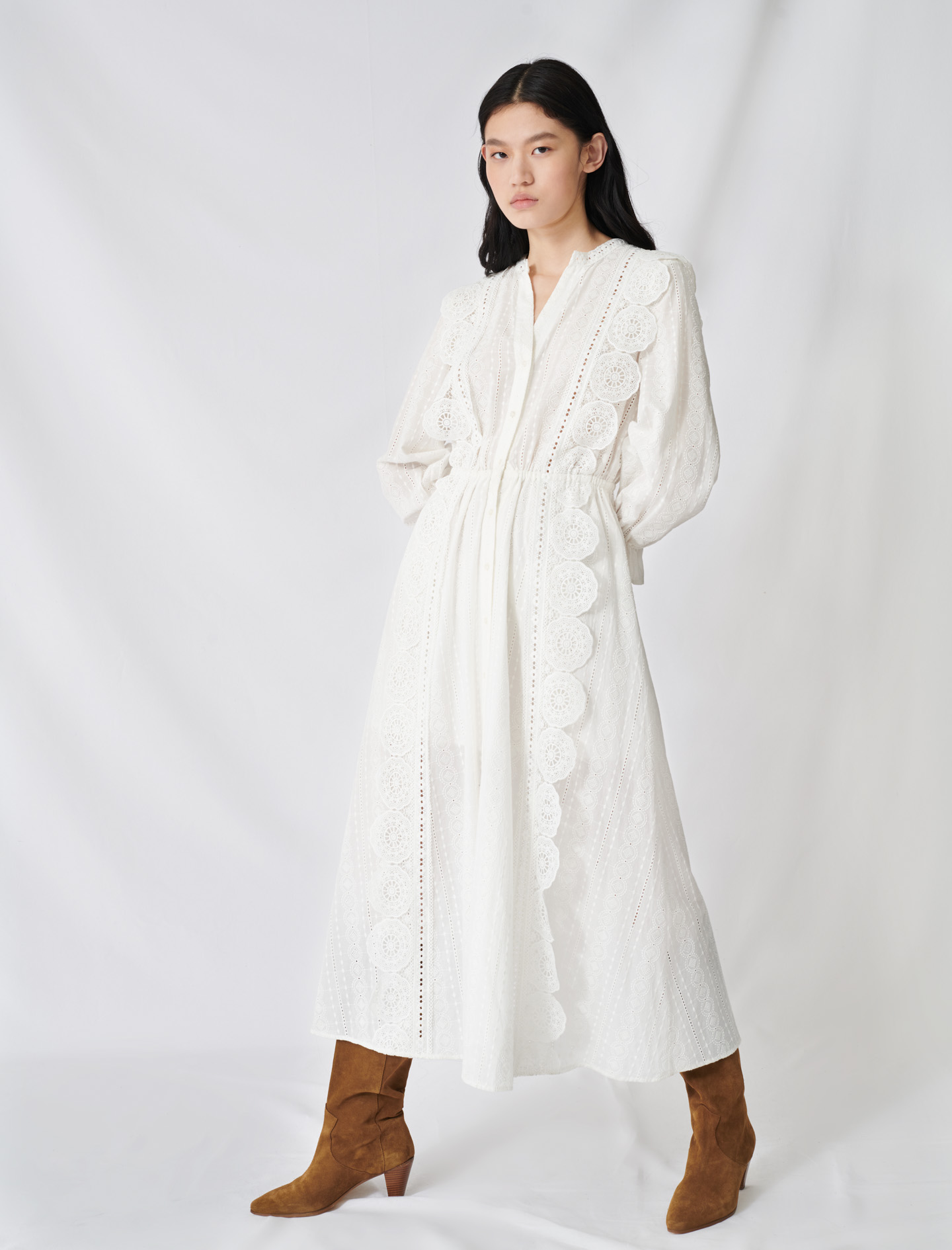 Cotton Dress With Broderie Anglaise  - White