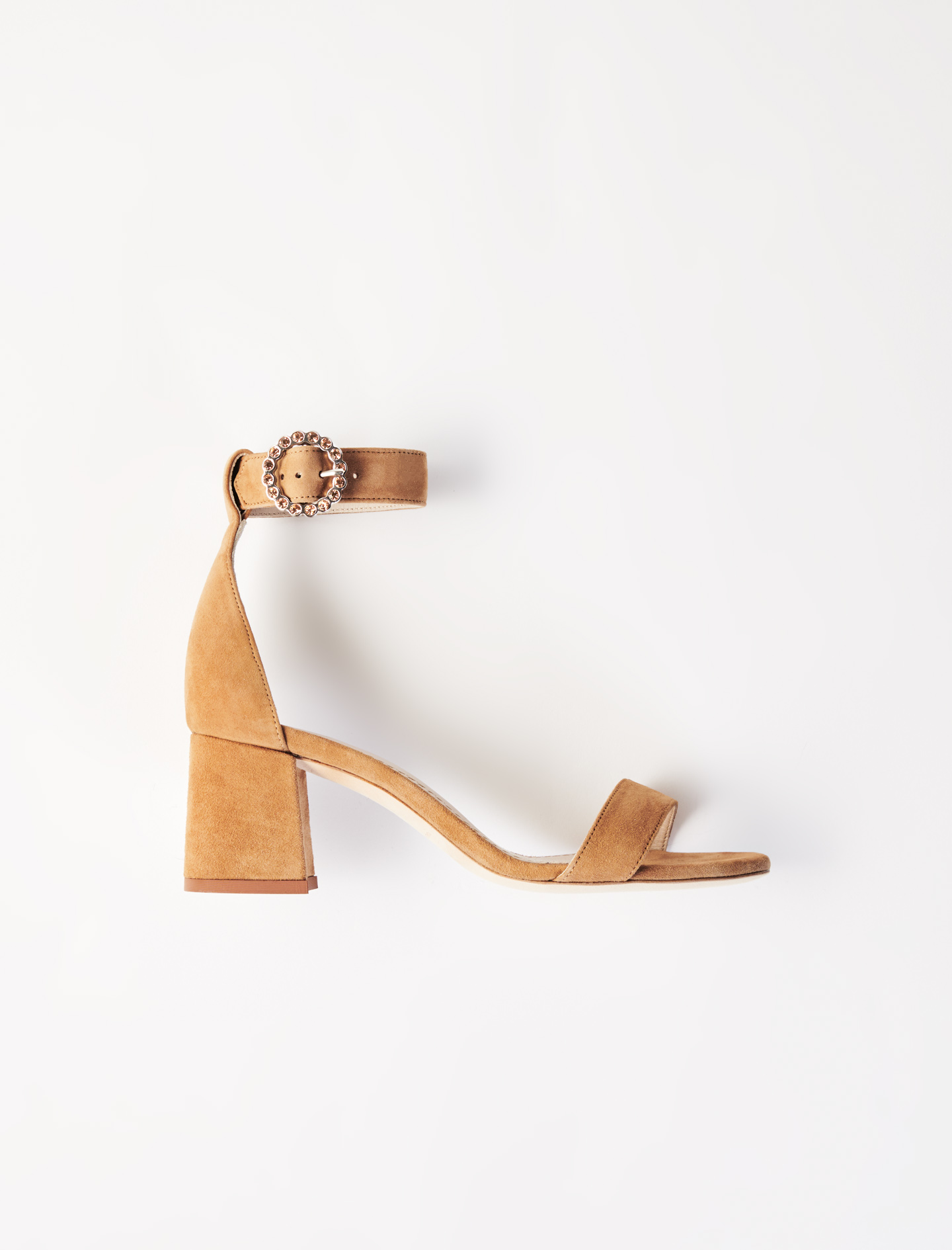 Strappy Midi-Heeled Sandals  - Camel