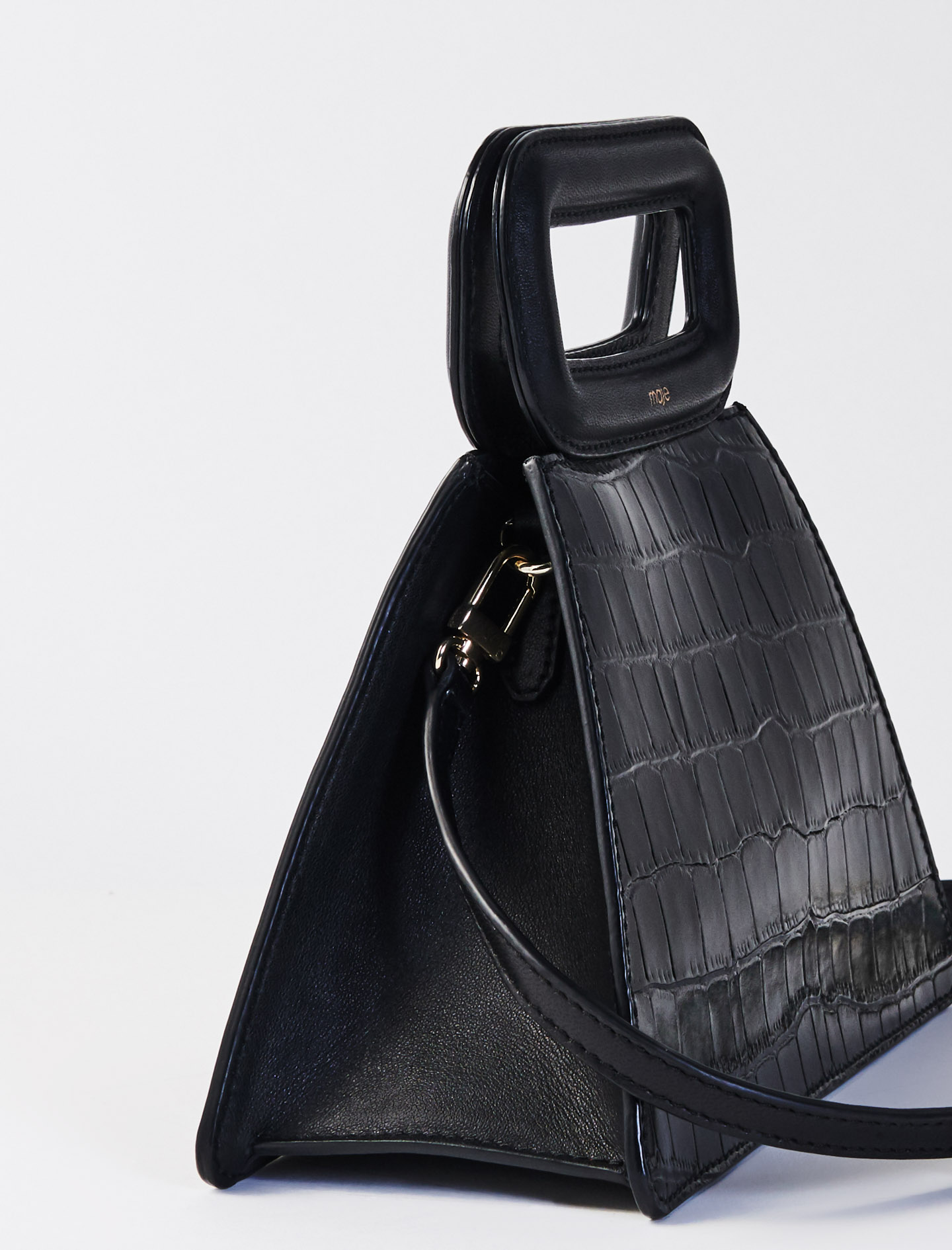 Pyramid bag with embossed leather handle - Black