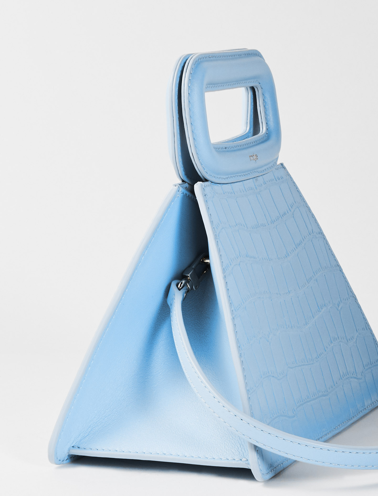 Crocodile-Effect Leather Pyramid Bag - Blue