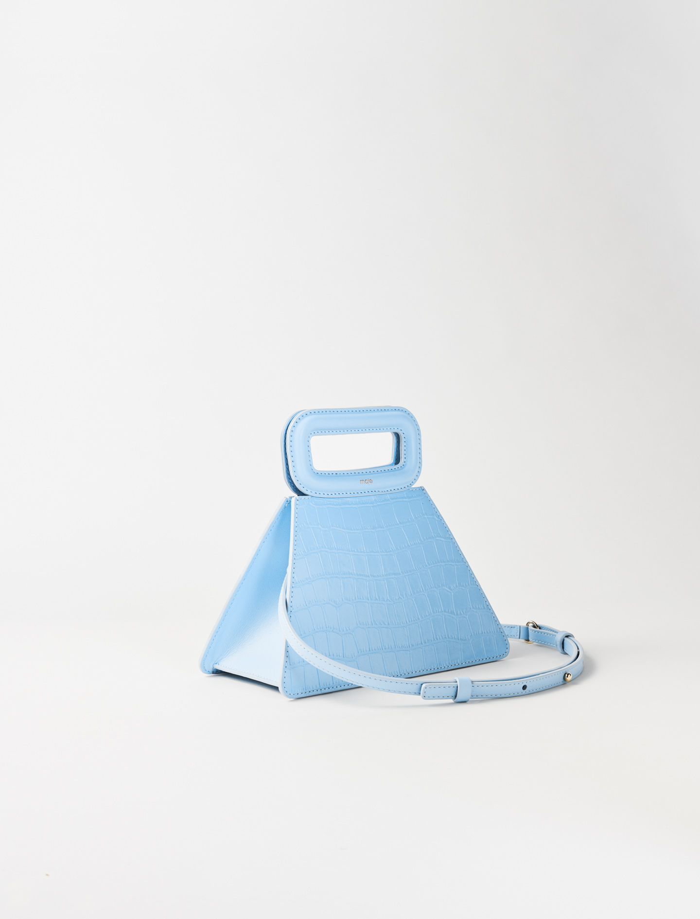 Pyramid bag with embossed leather handle - Blue