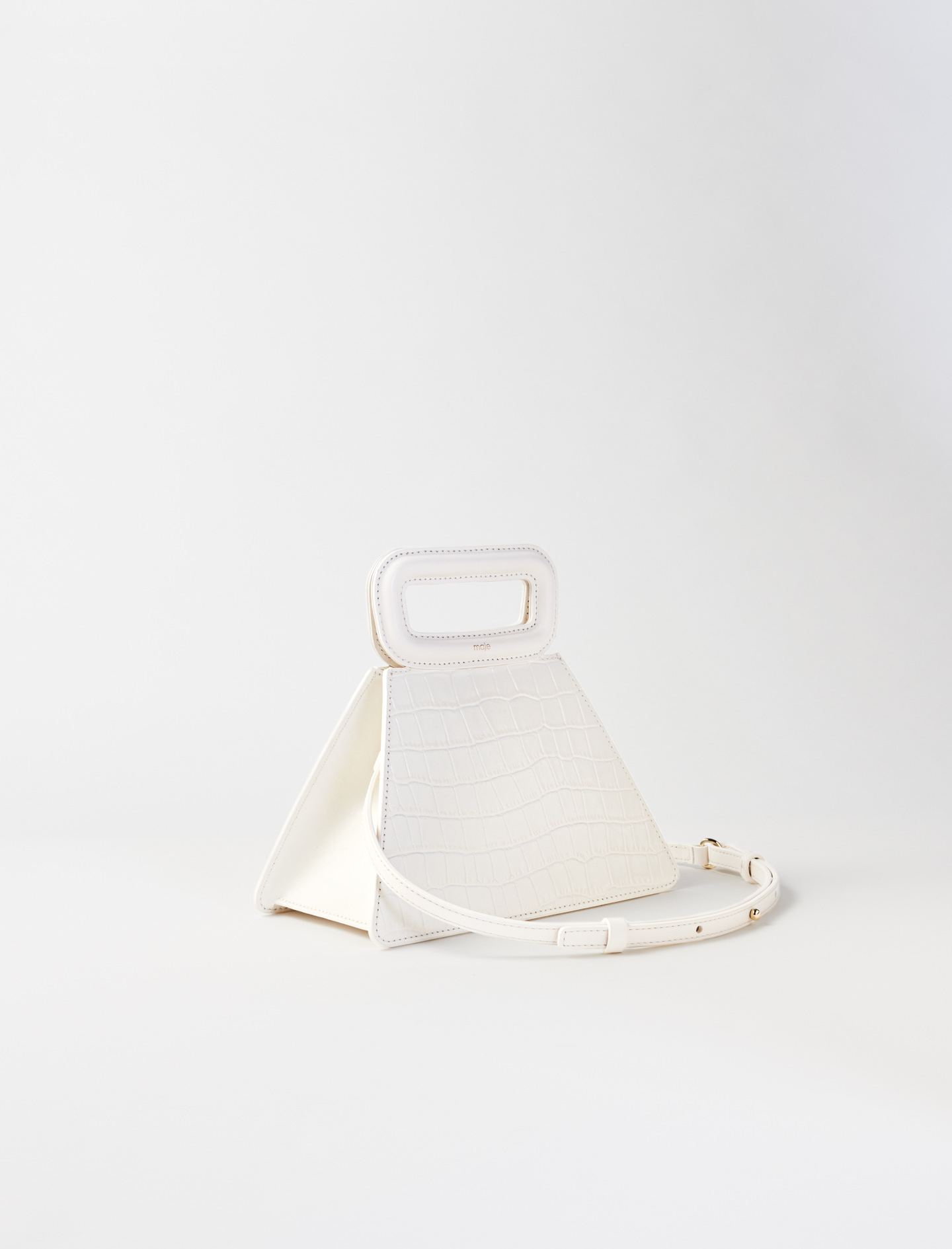 Pyramid bag with embossed leather handle - Ecru