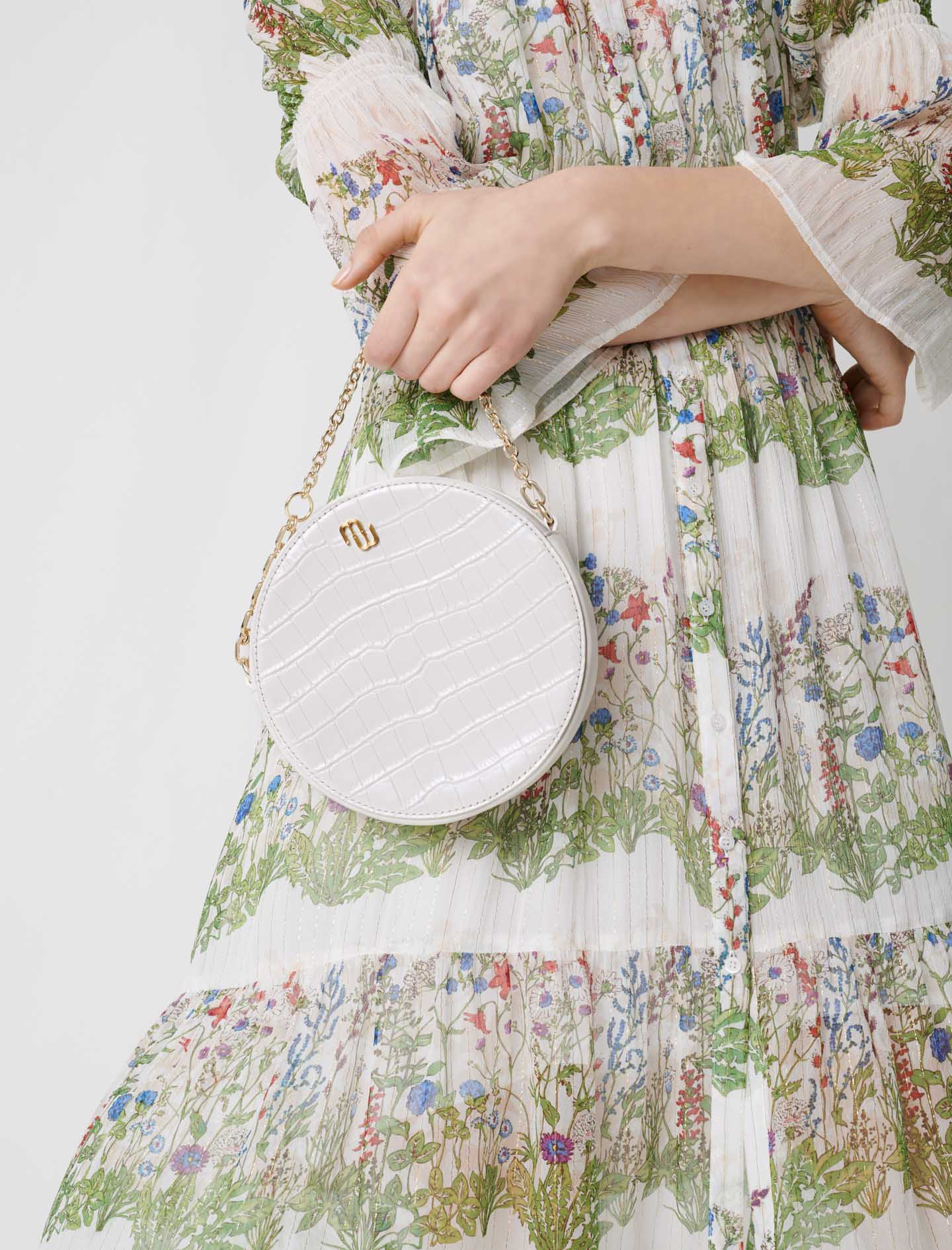 Round Embossed Leather Handbag - Ecru