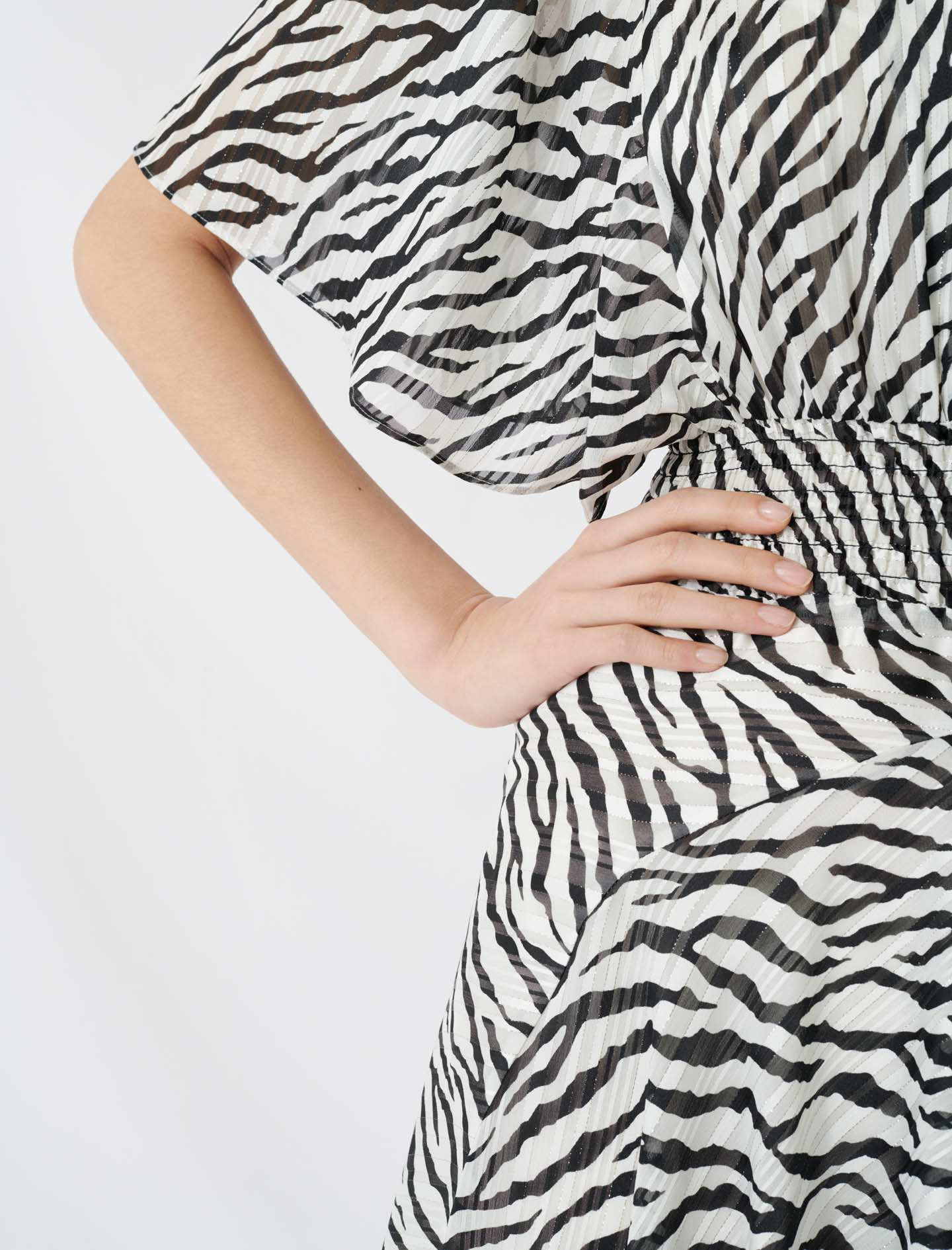 Long Lurex Jacquard Zebra-Print Dress - Multiclr