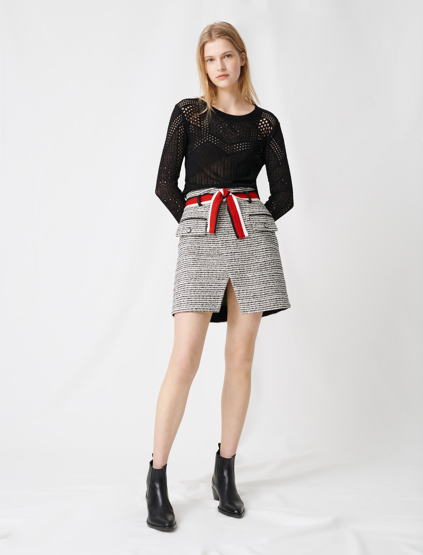 Tweed-style wrap skirt - Multi-colour
