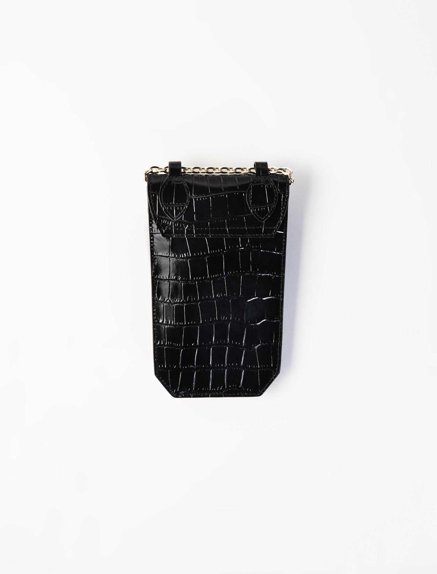 Crocodile-effect phone case - Black