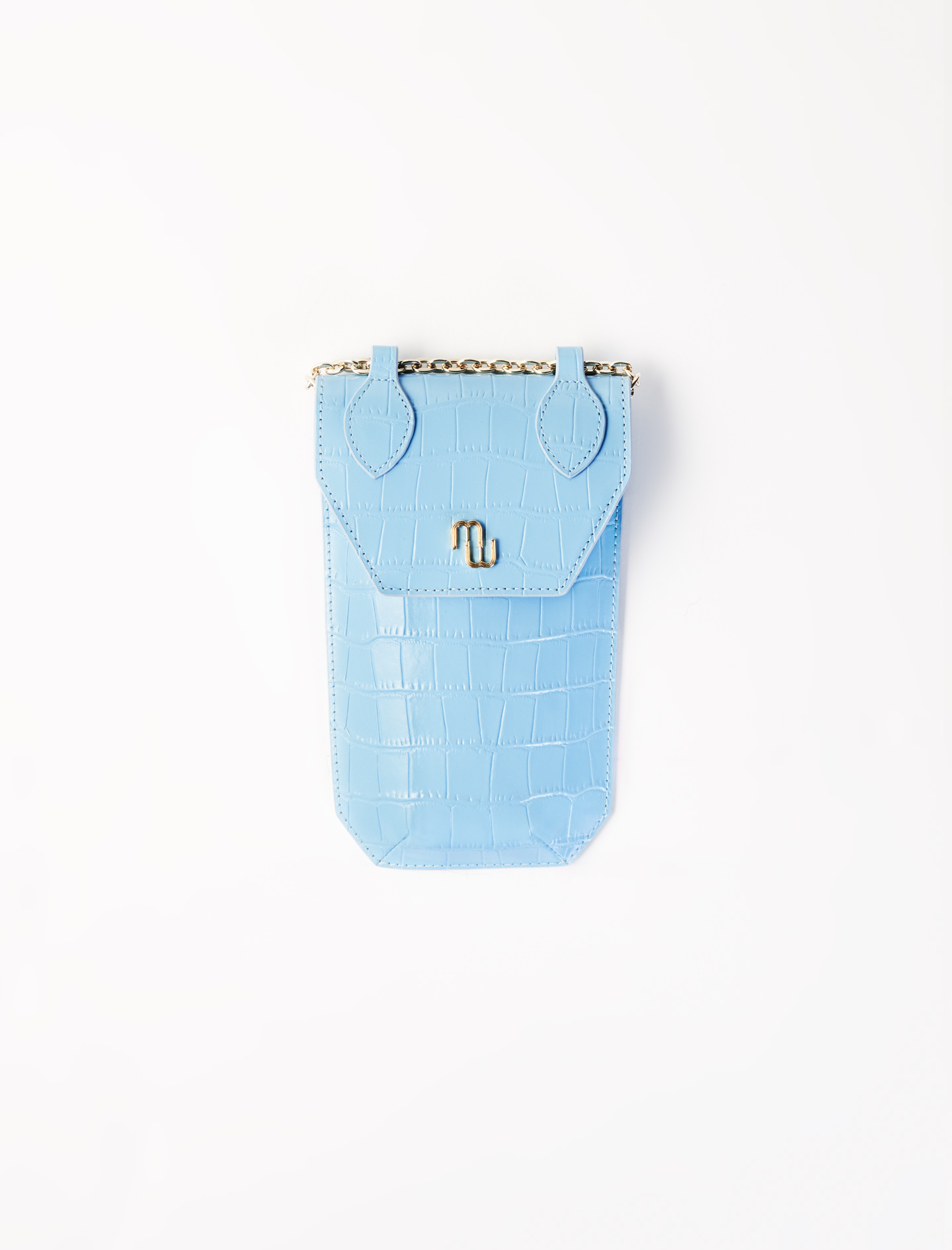 Crocodile-effect phone case  - Blue
