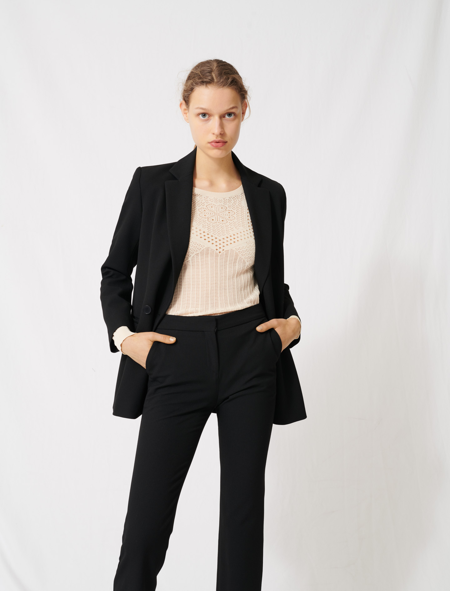 Double breasted crepe tailored collar jacket - Black