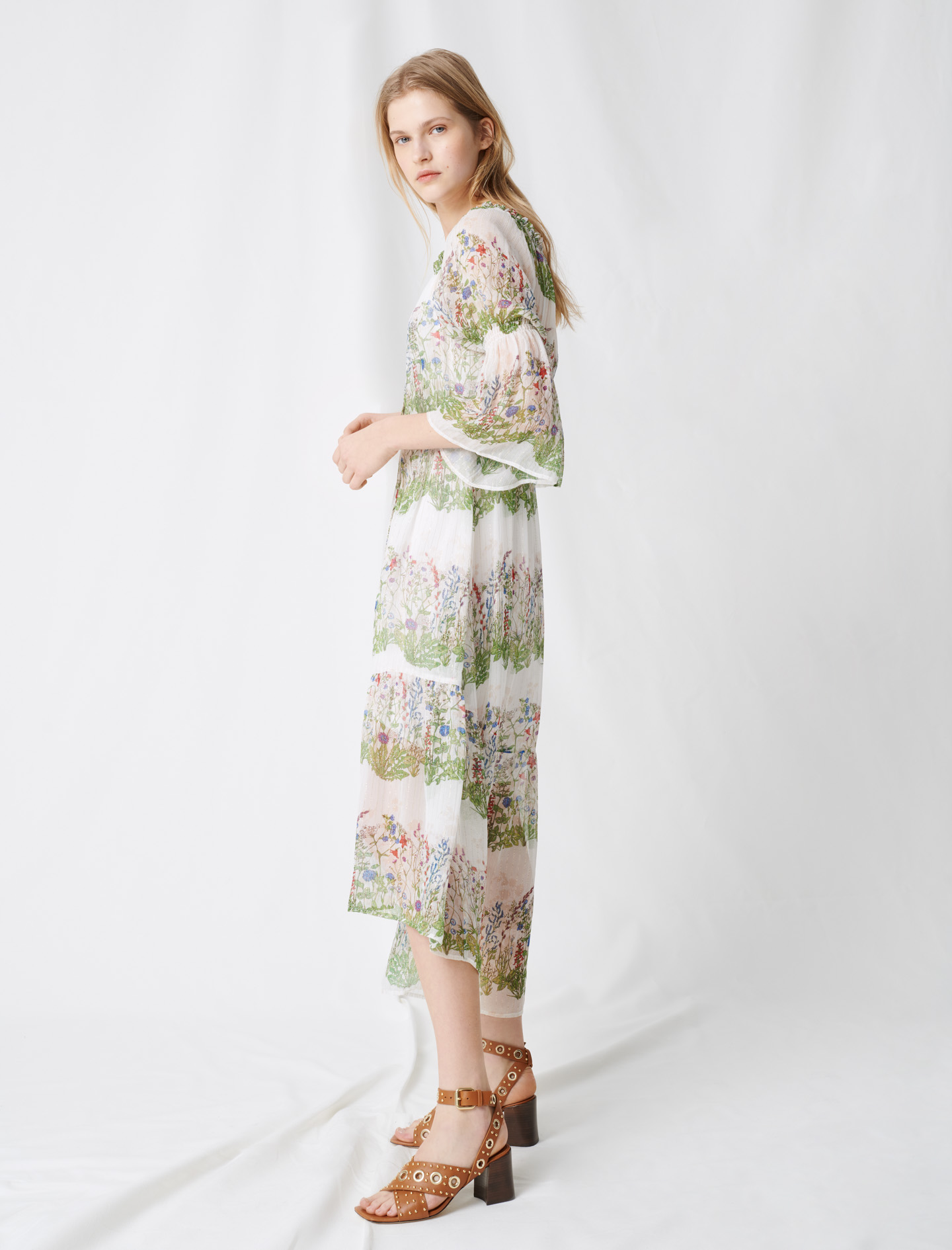 Printed silk long dress - Multiclr
