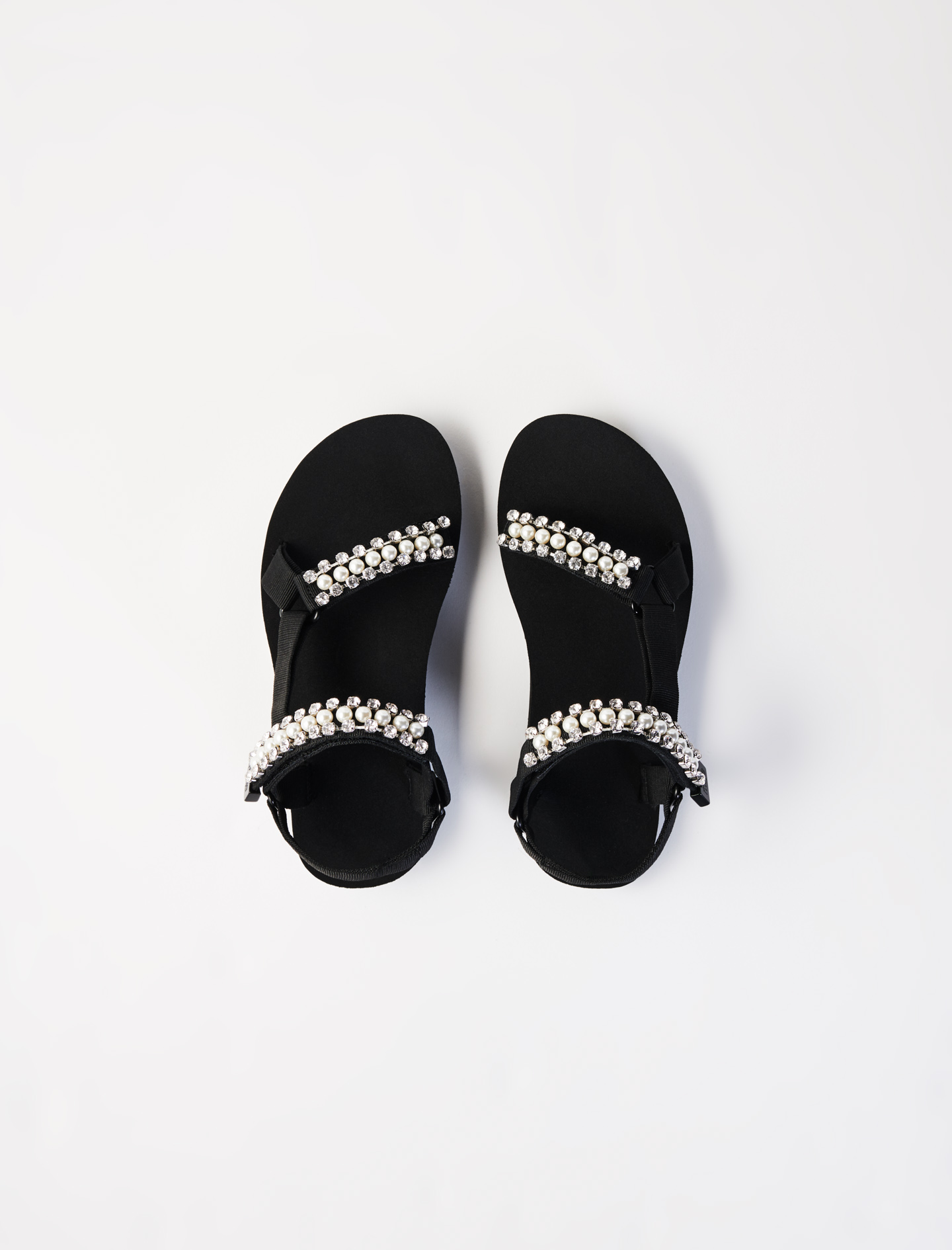 Hiking sandals with diamanté and beads - Black