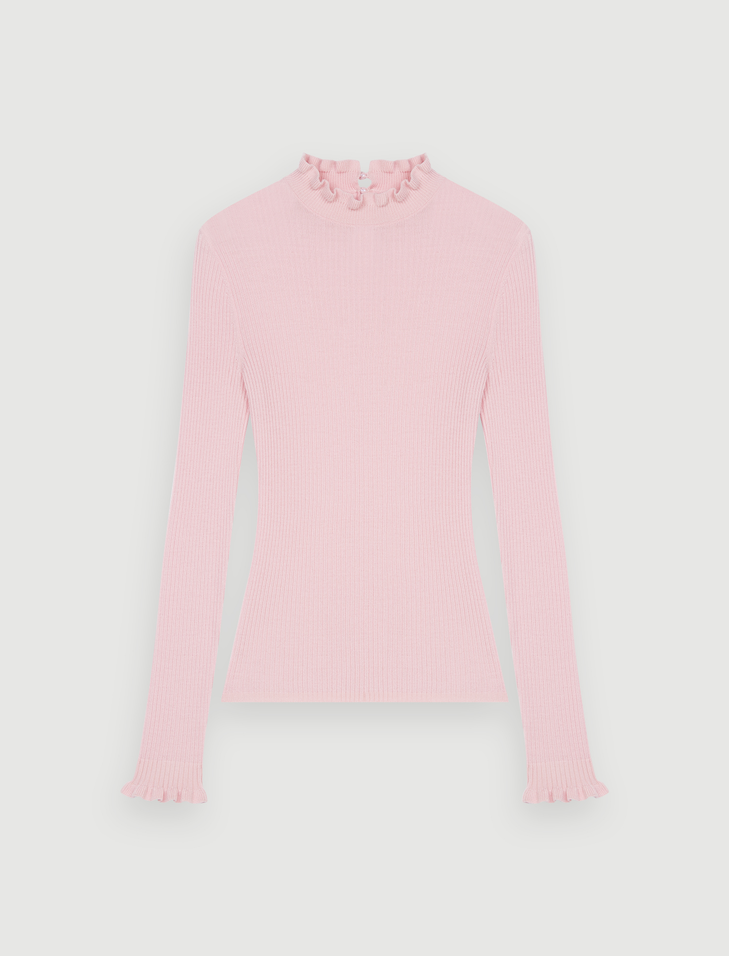 Fancy high-neck lightweight sweater - Pink