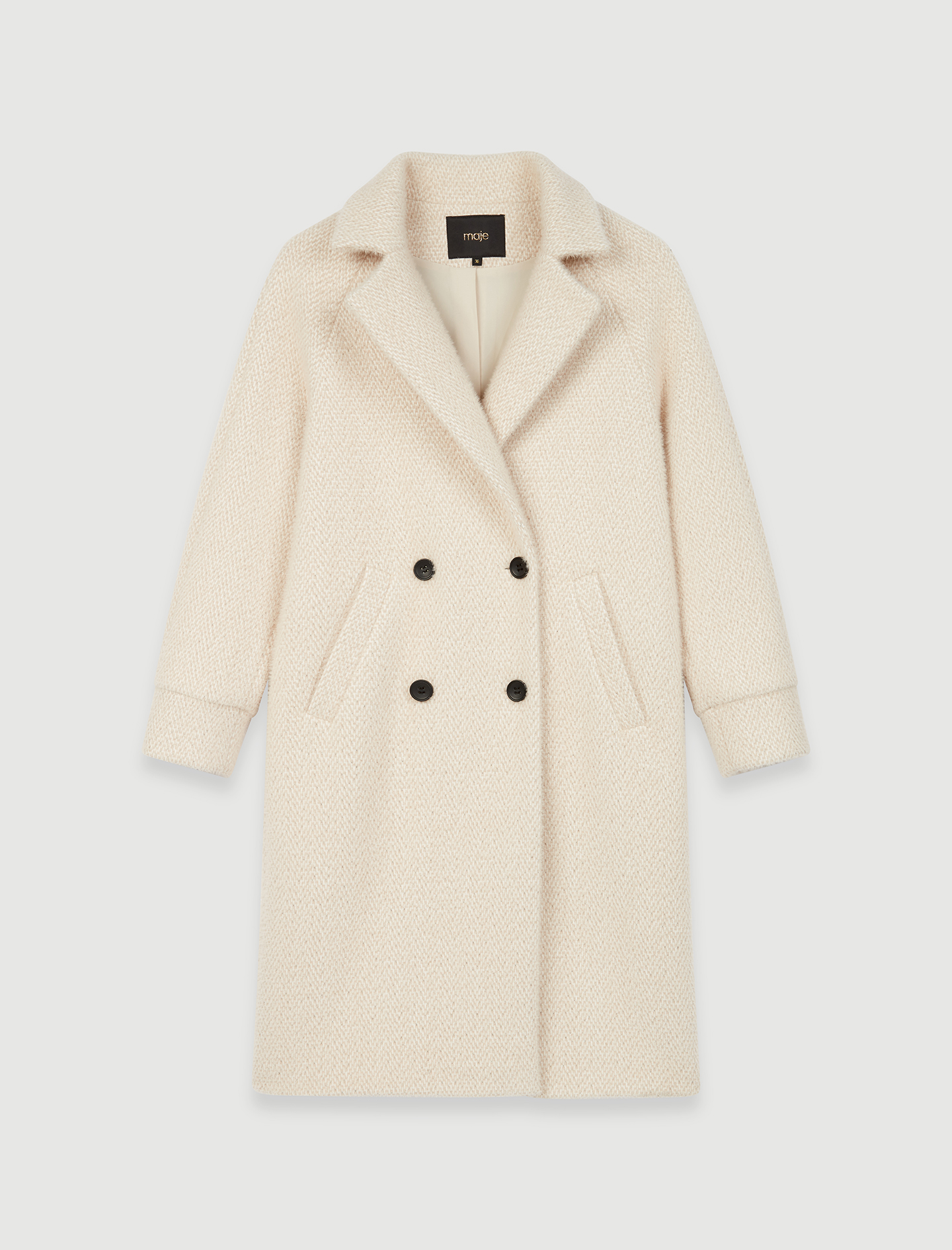 Straight cut double breasted tricotine coat - Powder