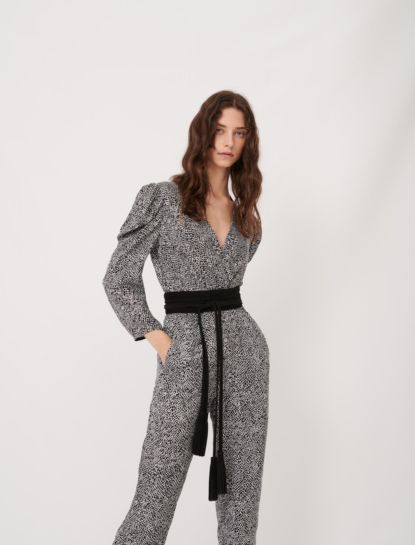 Flowing animal print jumpsuit - Multiclr
